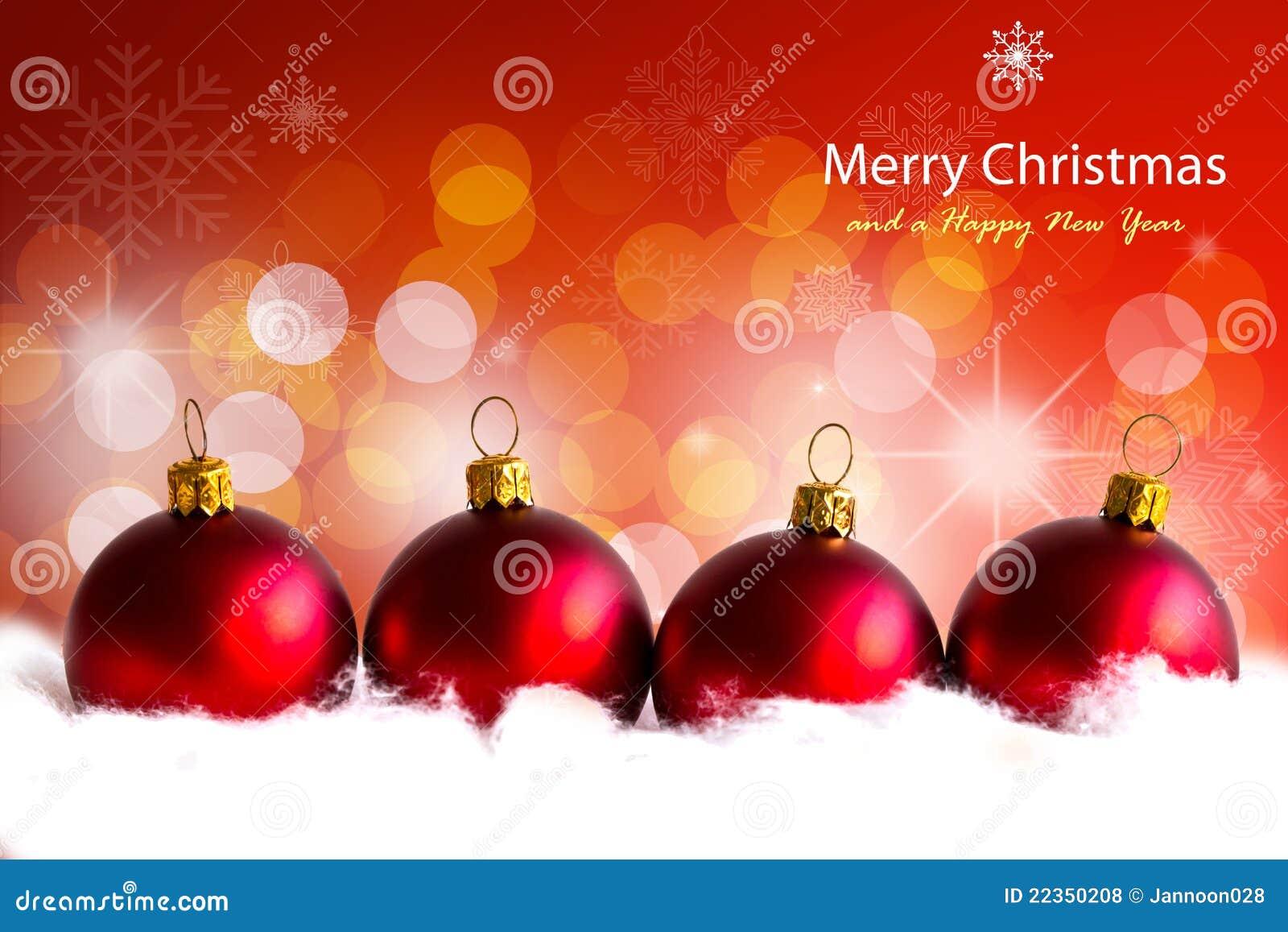 发光的红色圣诞节球。