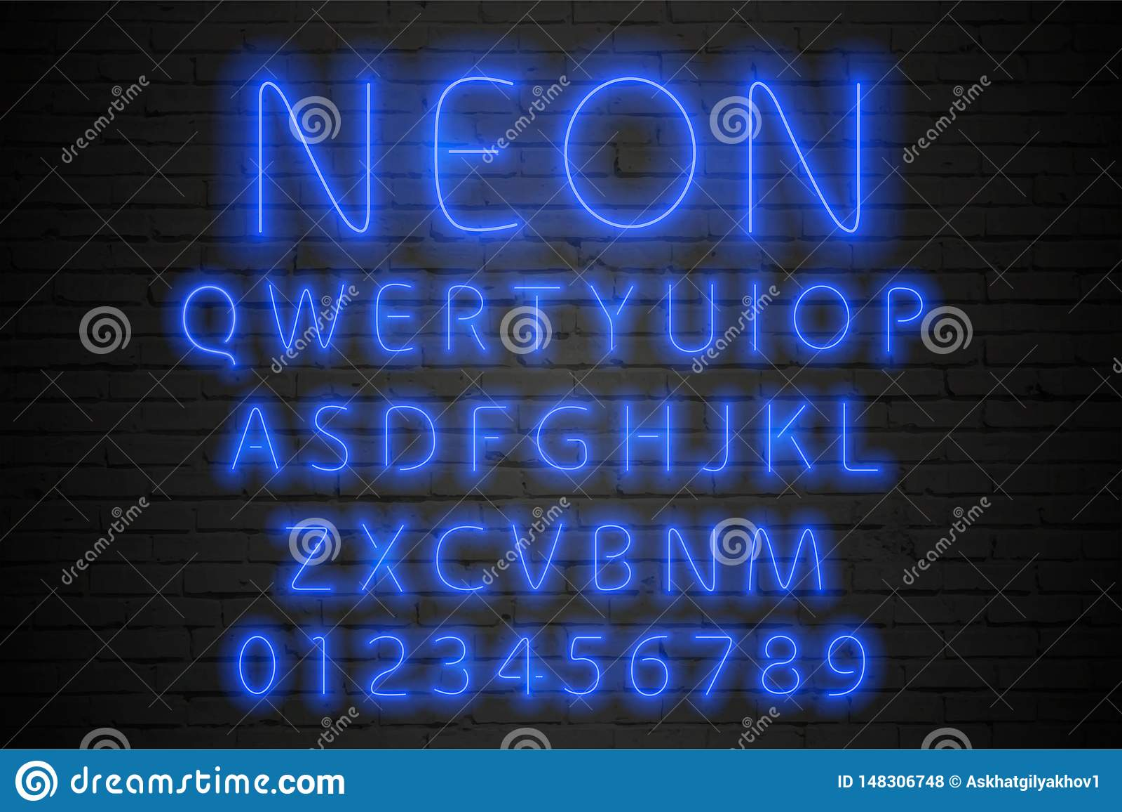 发光的蓝色霓虹字母表 霓虹信件和数字