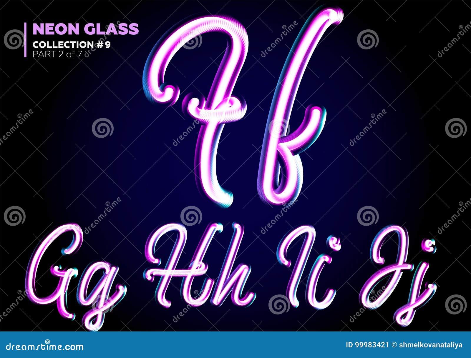 发光的3D被排版的氖 字体套玻璃信件 光滑的桃红色