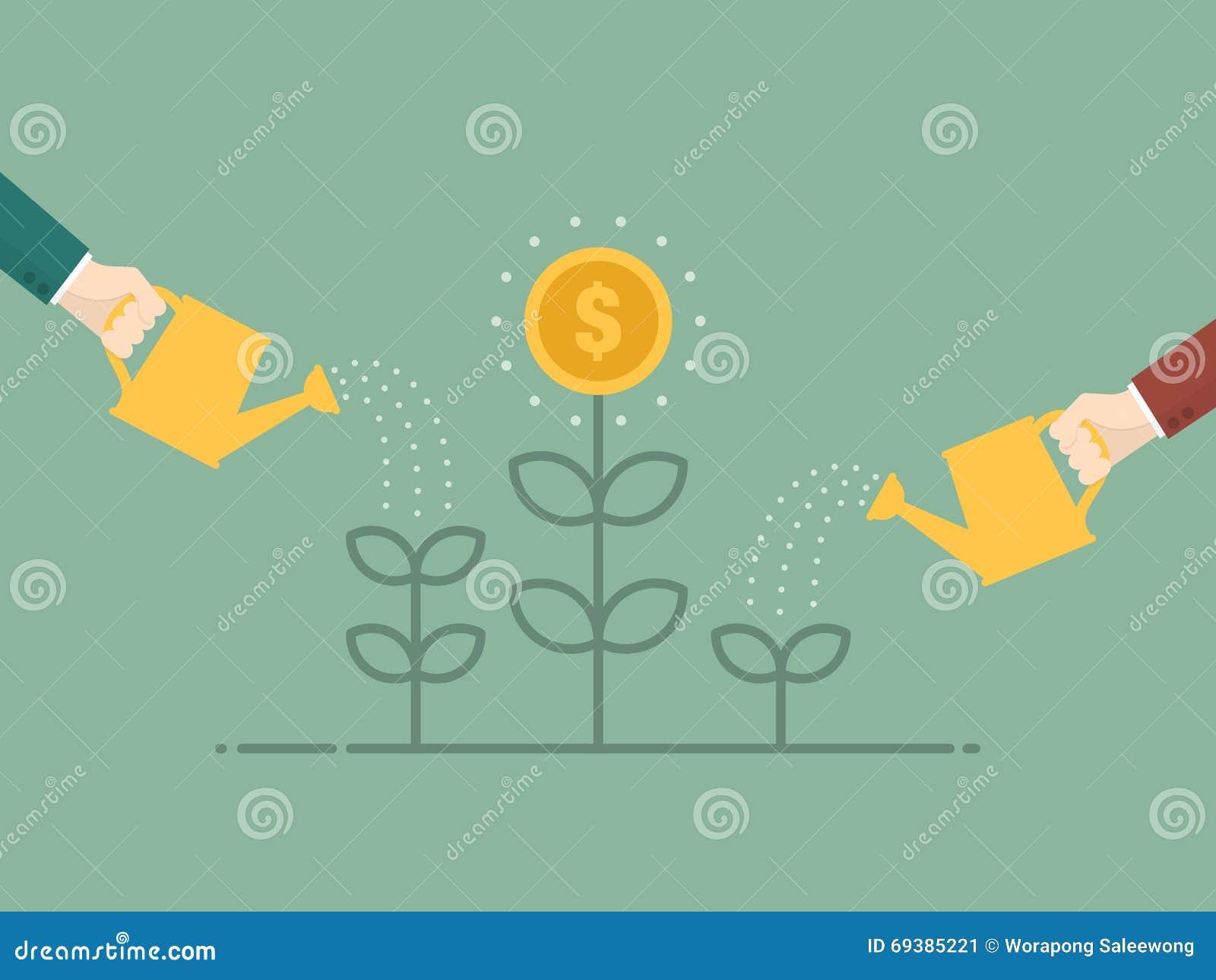 发单美元草绿色生长增长一百货币一