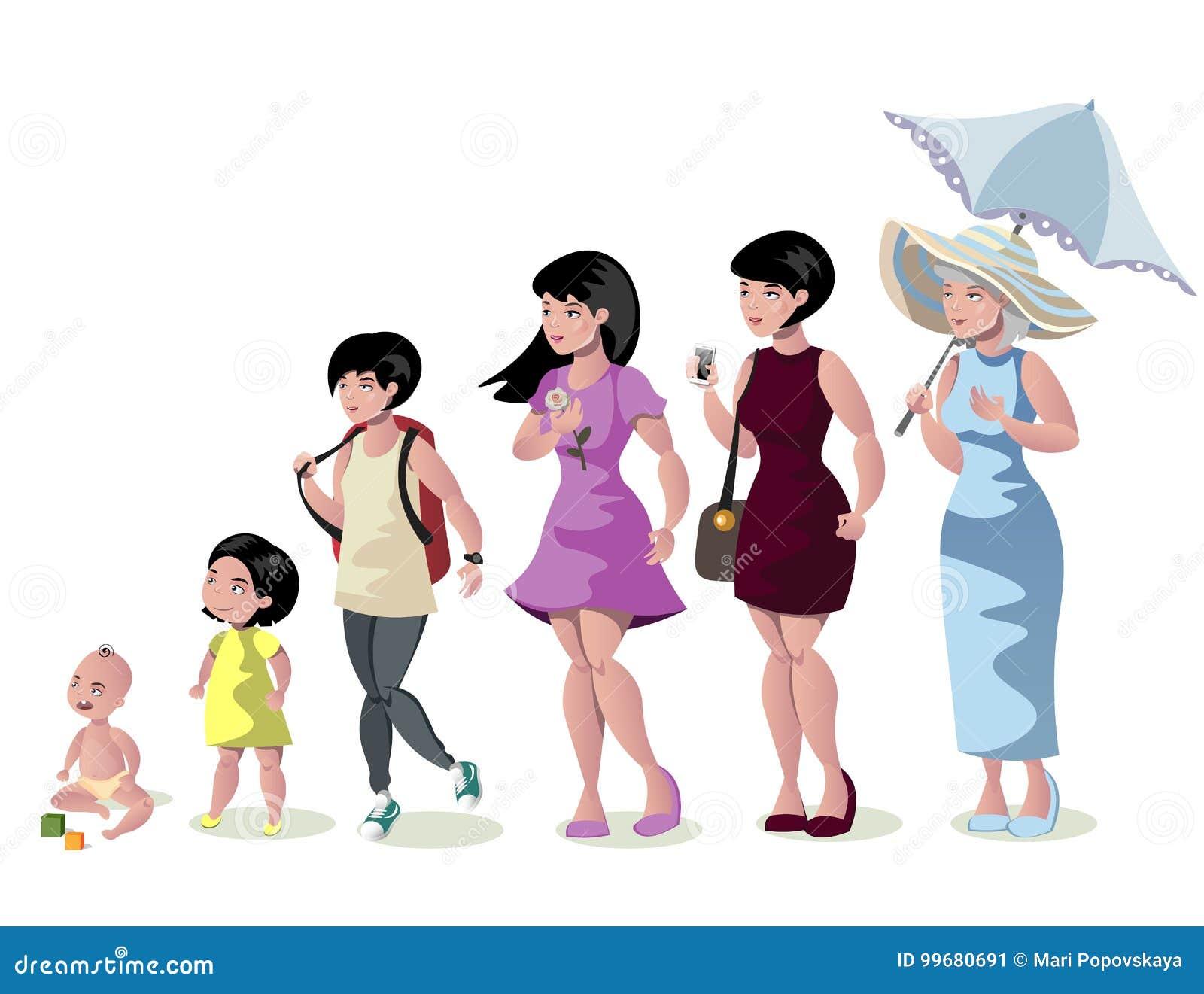 发展妇女阶段在白色背景的