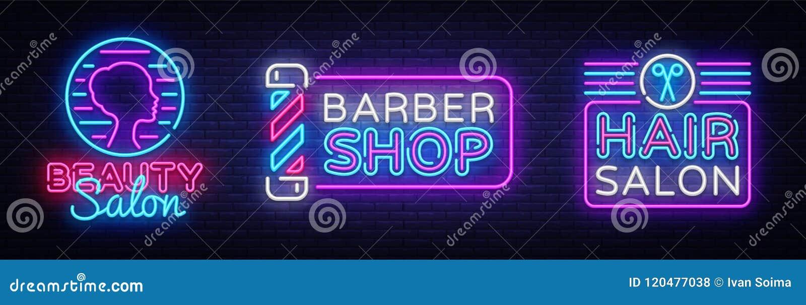 发廊商标汇集传染媒介 美容院霓虹灯广告,理发店现代趋向设计,轻的传染媒介例证