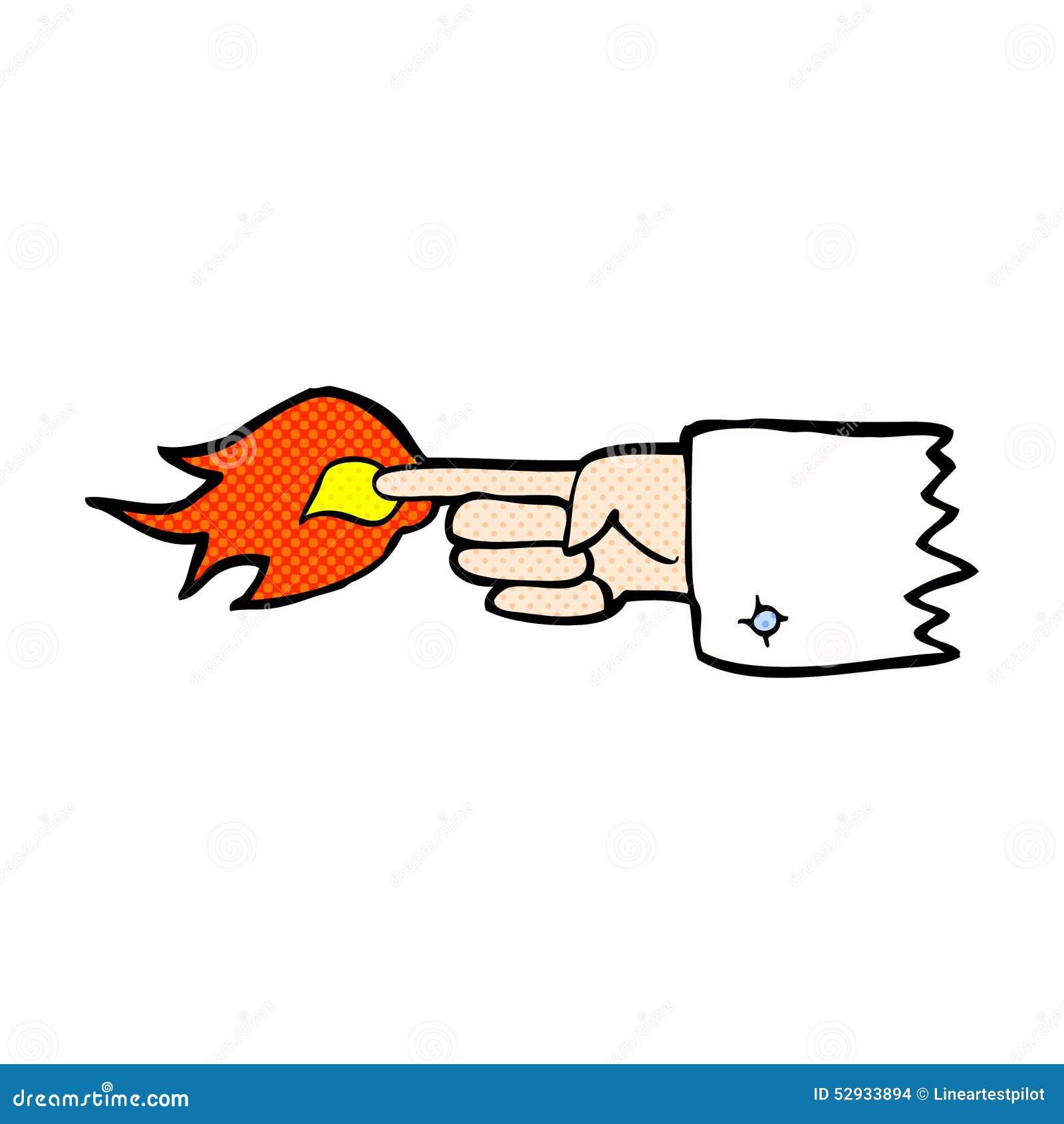 发火焰可笑的动画片指向手指标志图片