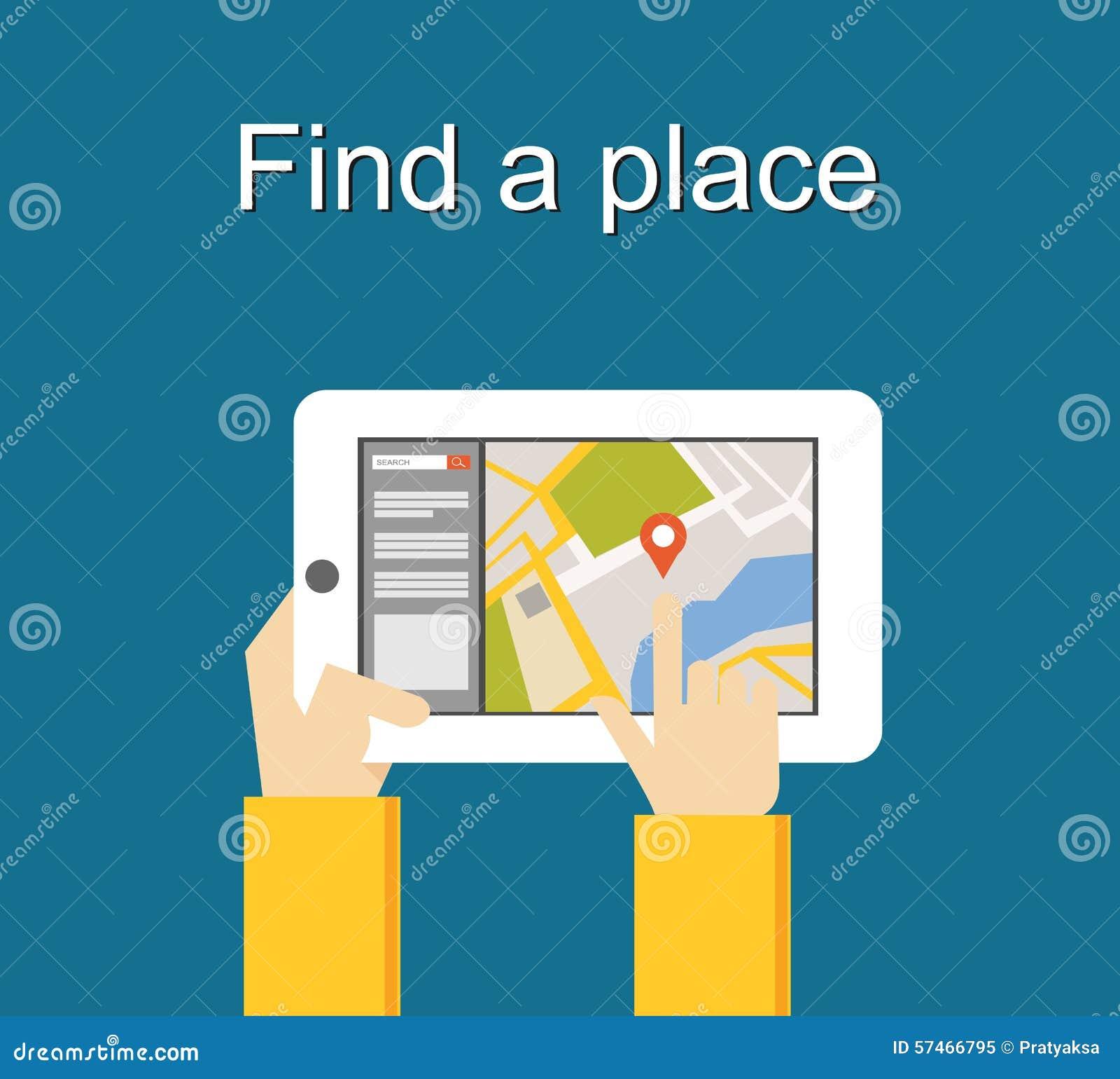 发现一个地方概念例证平的设计 查寻地方概念 使用搜寻的地点小配件