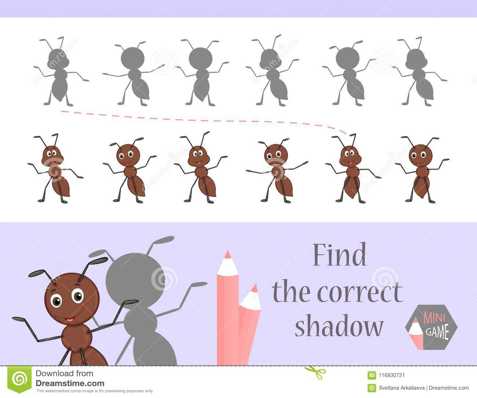 发现正确阴影,孩子的教育比赛 逗人喜爱的动画片动物和自然 也corel凹道例证向量 抗酸剂
