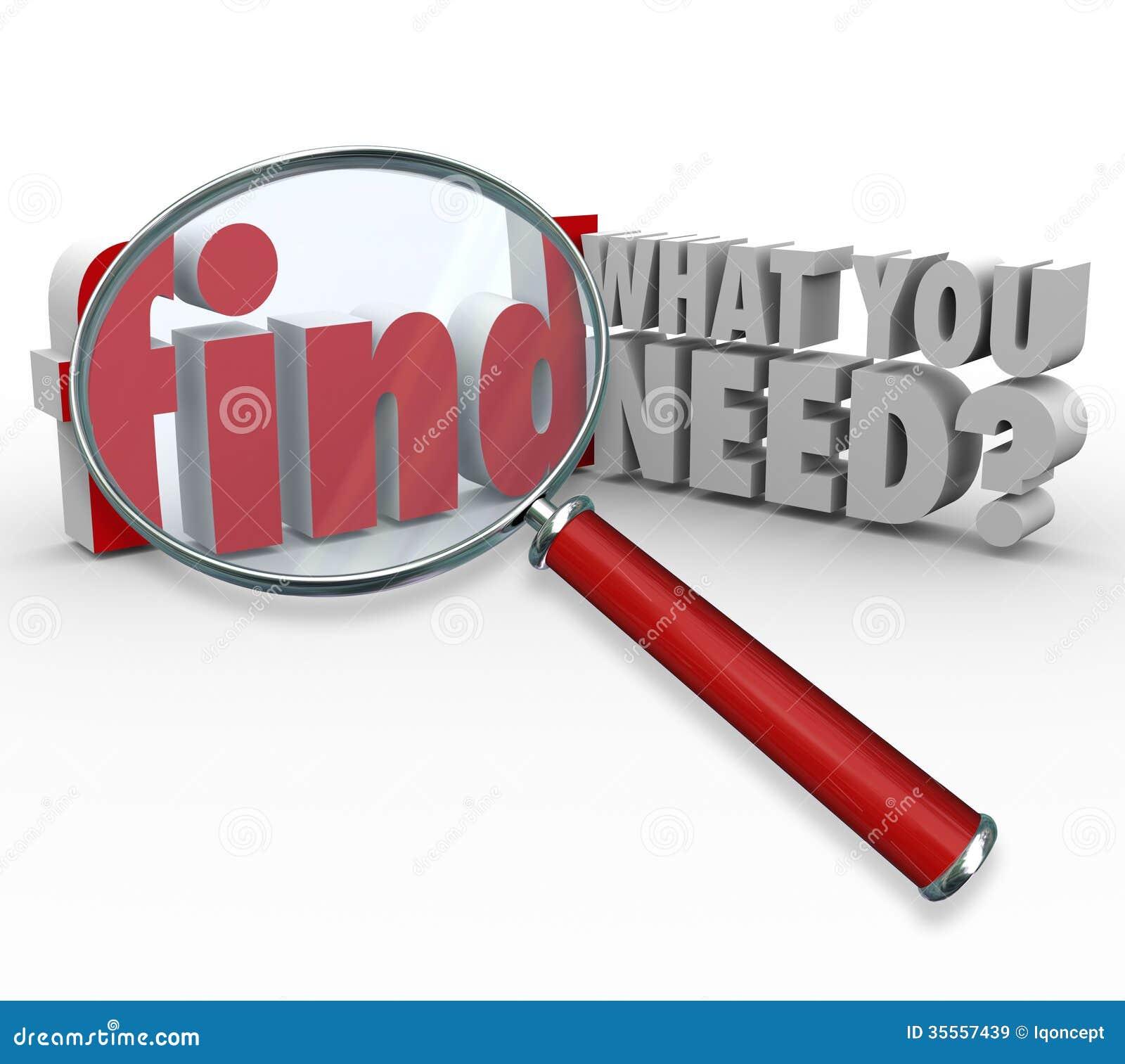 发现什么您需要搜寻对于信息的放大镜