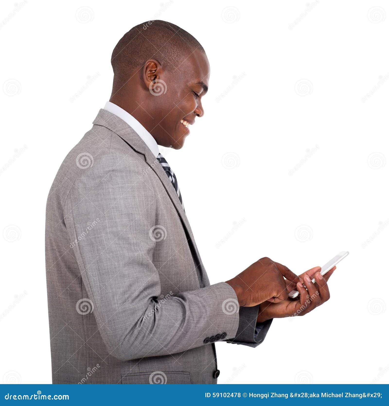 发短信给巧妙的电话的商人
