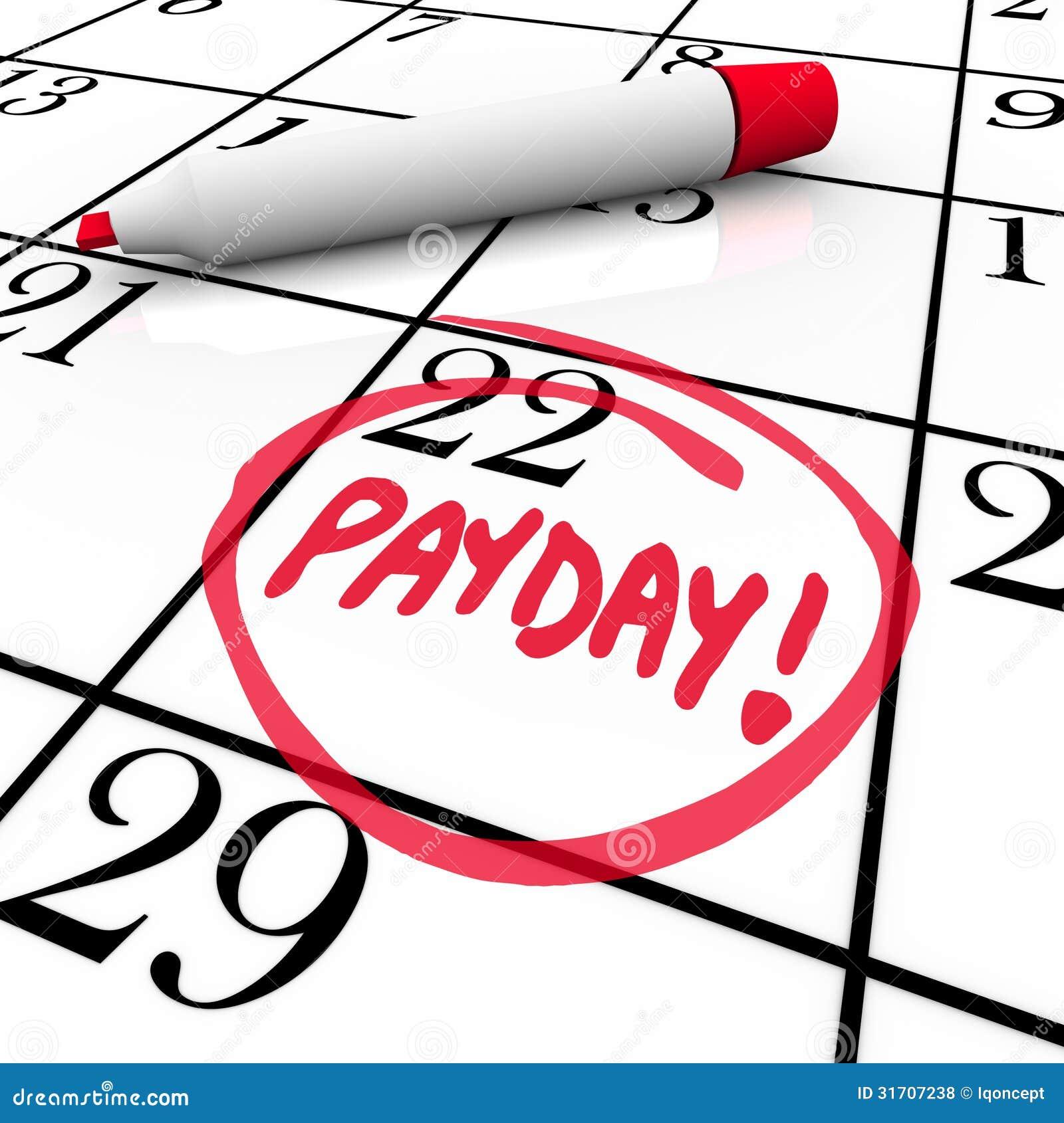 发薪日词盘旋的日历收入从事日期