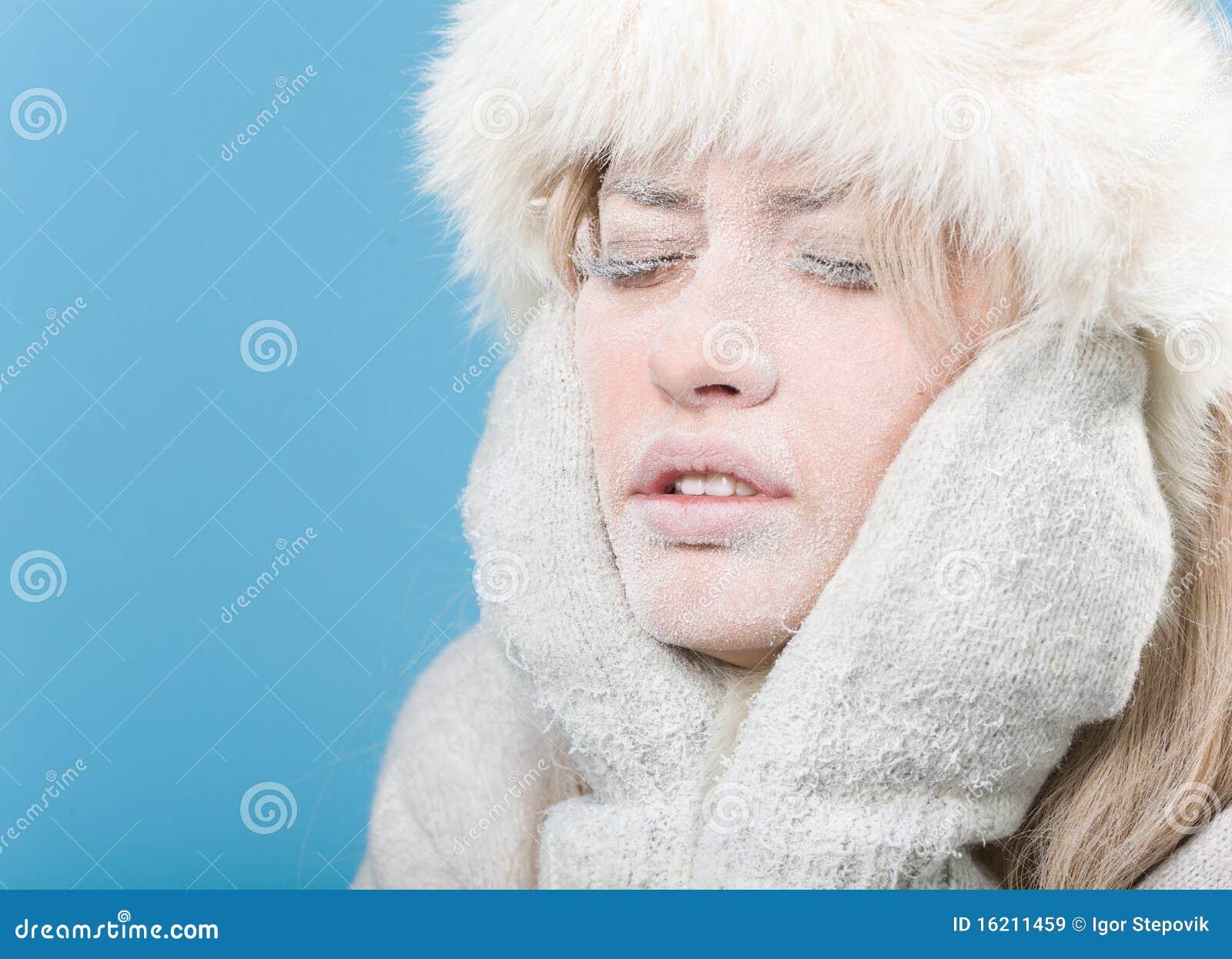 变冷的包括的表面女性冻结的冰雪