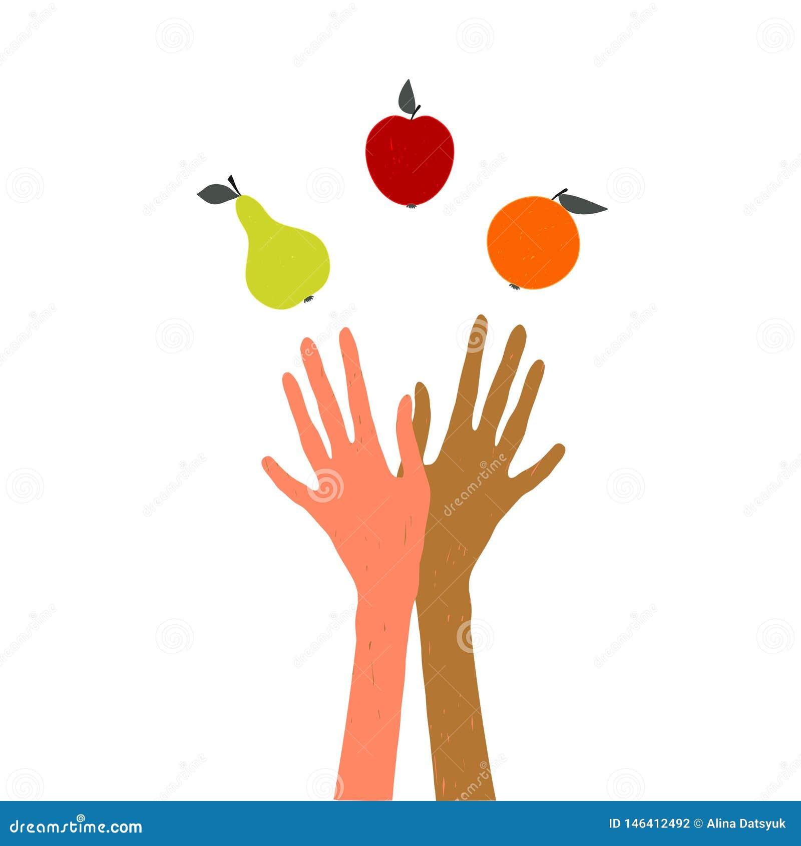 变戏法者 玩杂耍果子的手 在健康生活方式题材,收获节日,感恩节的例证,