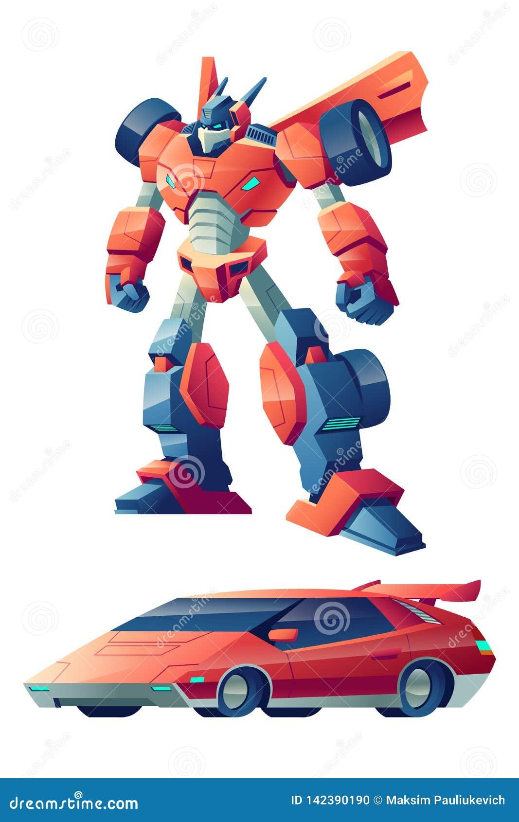 变换在跑车动画片传染媒介的机器人
