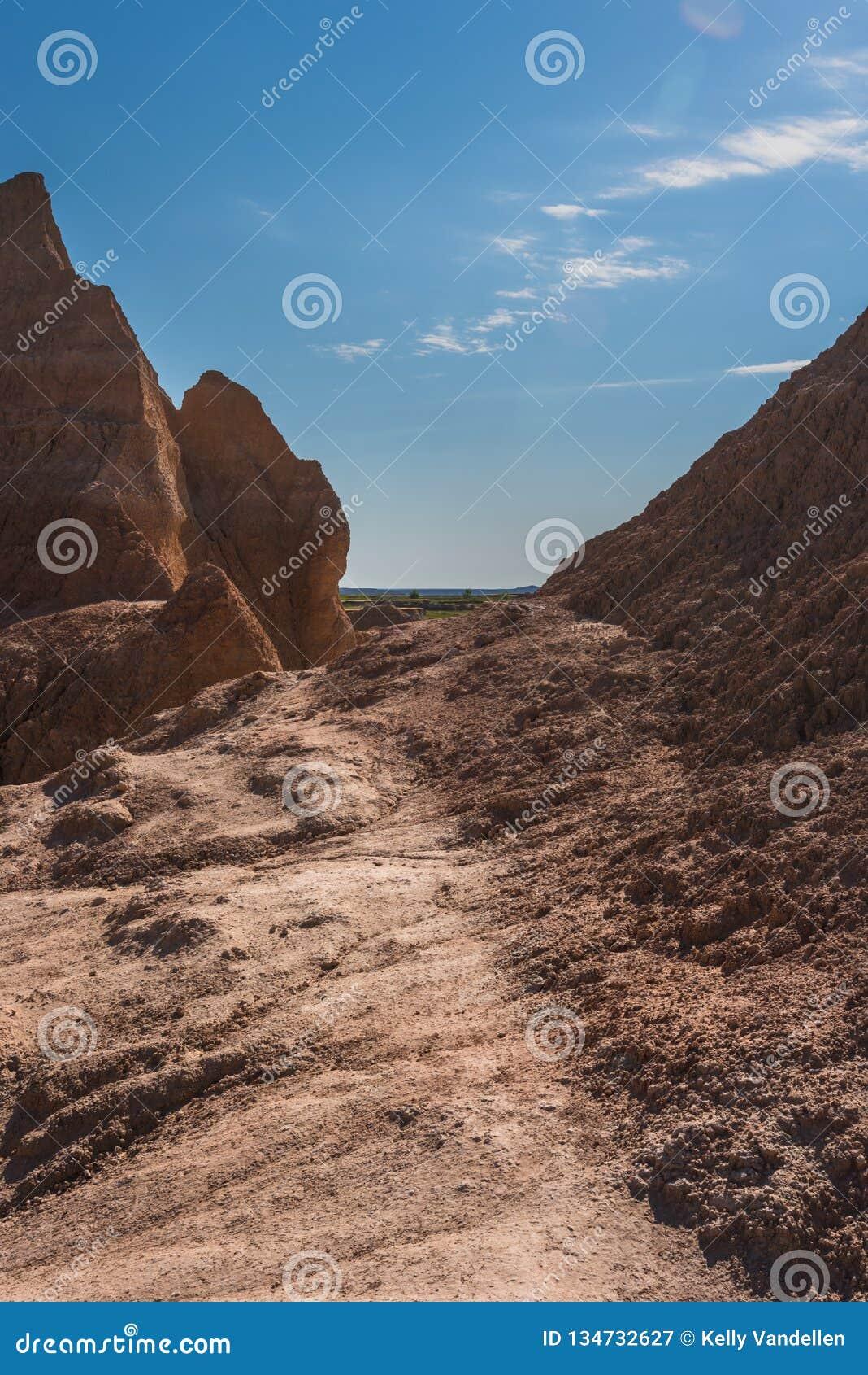 变紧密的足迹通过荒地
