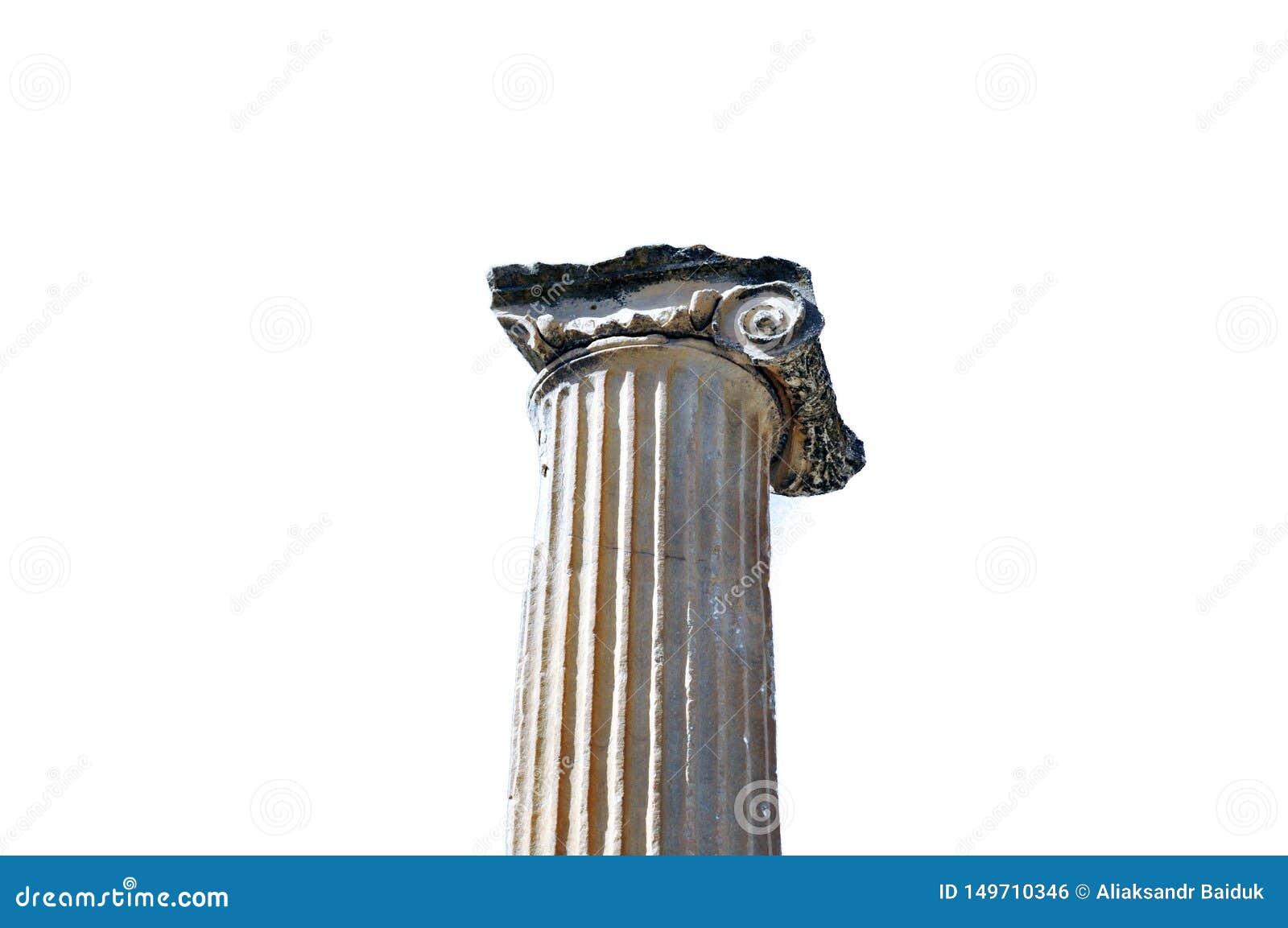 古希腊建筑学对象大理石柱离子样式