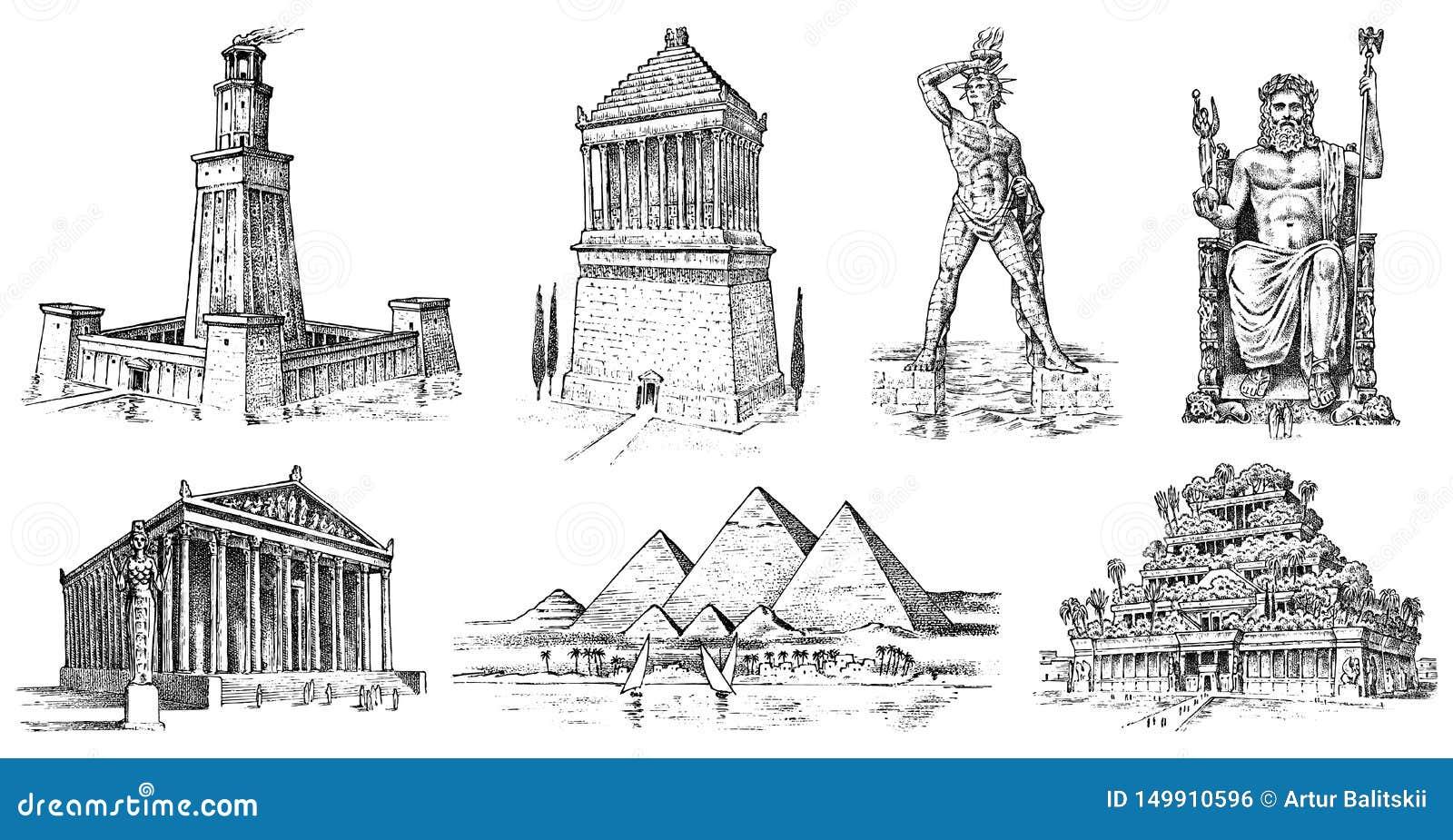 古老世界的七奇迹 吉萨棉金字塔,巴比伦,在以弗所,宙斯的亚底米神庙斜坡上的花园在