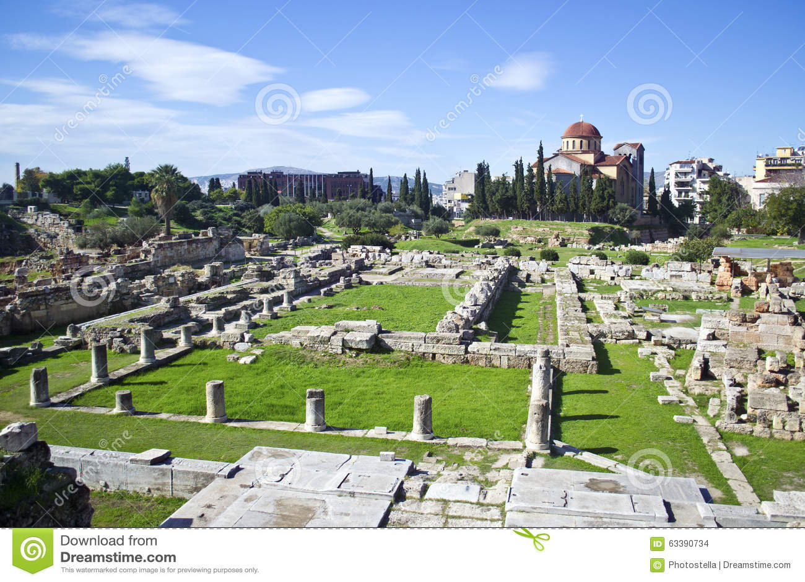 古老公墓在雅典Kerameikos希腊