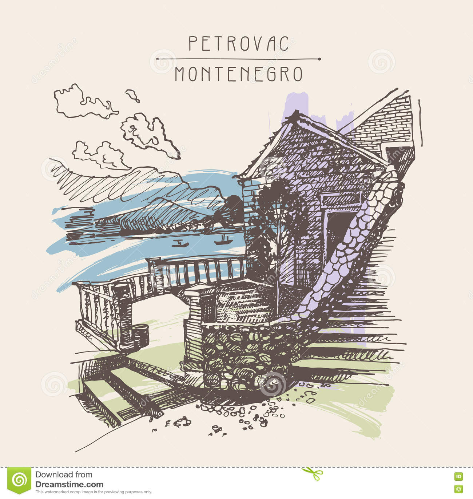 古老堡垒原始的乌贼属墨水略图在Petrovac Mo