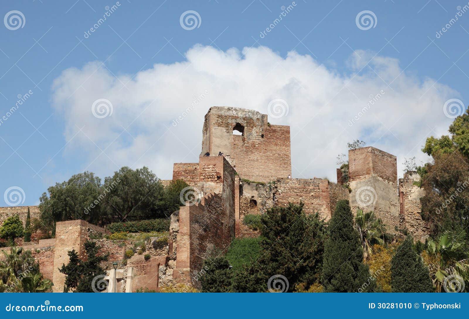 古老摩尔人堡垒在马拉加