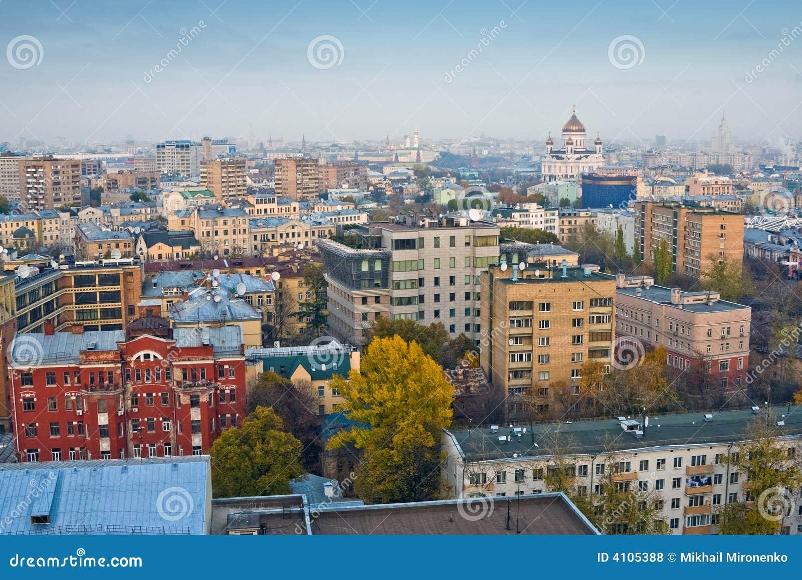 古老莫斯科顶房顶视图