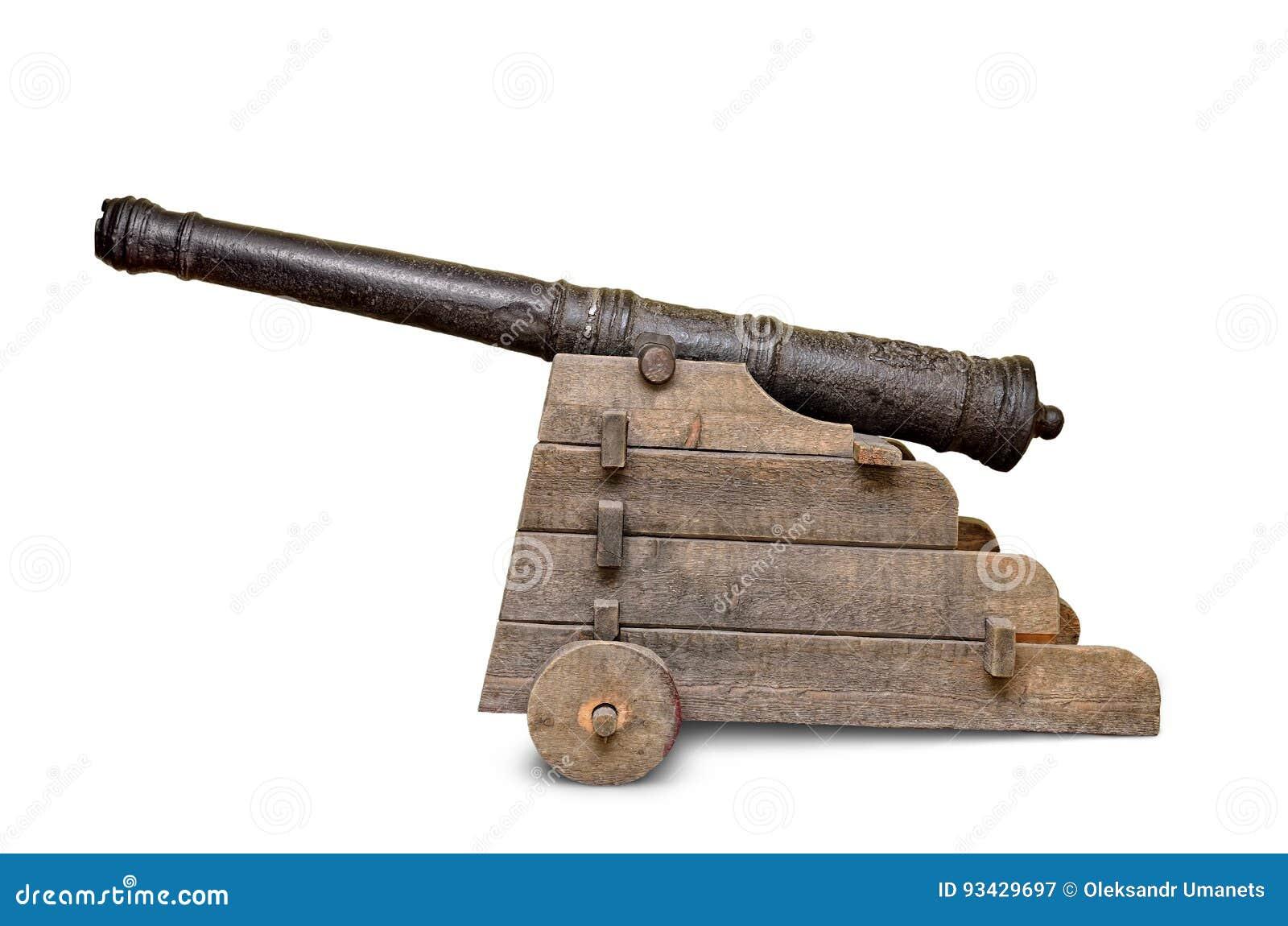 古老,在白色背景隔绝的铁大炮