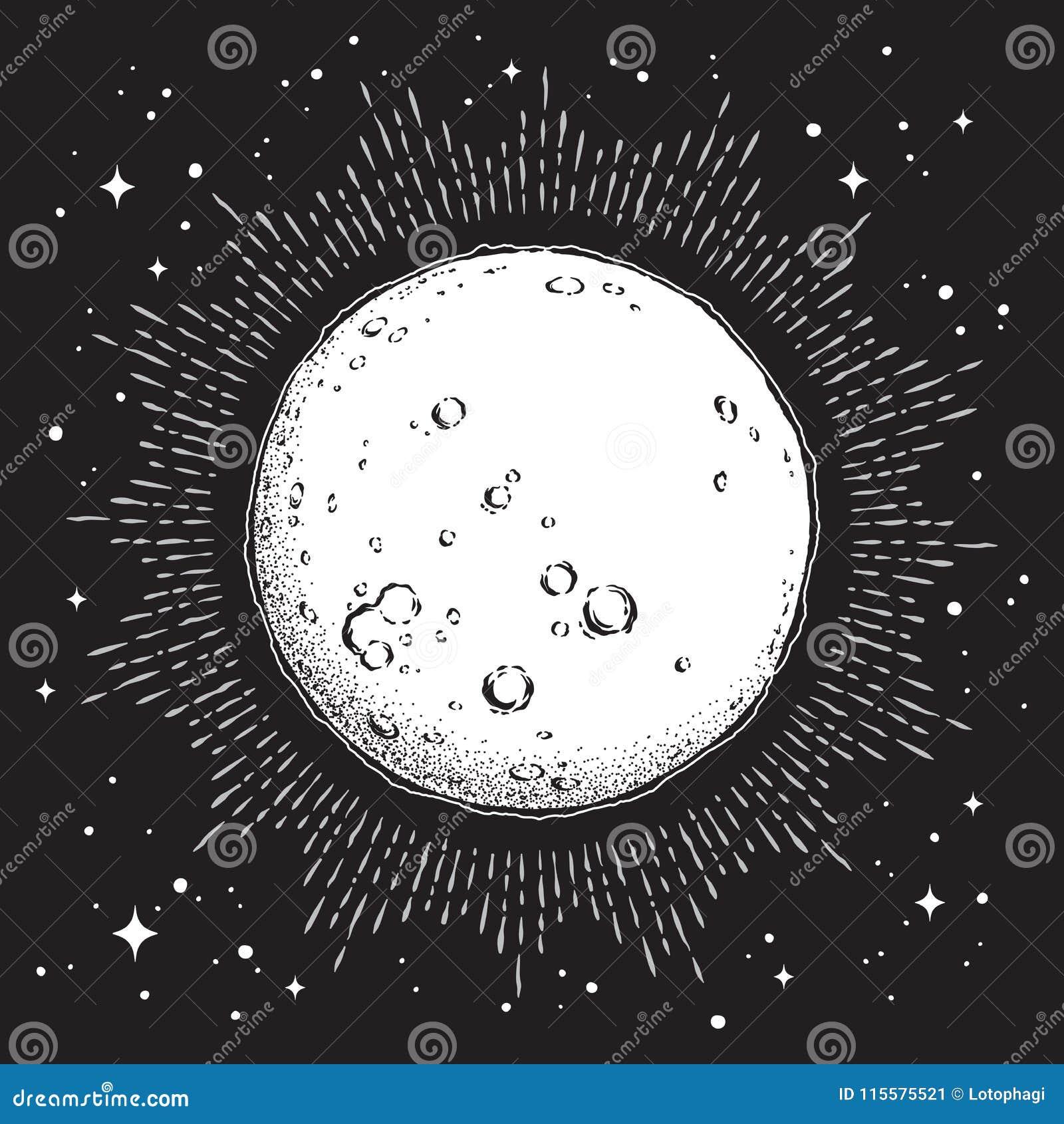 古色古香的样式手拉的线艺术和小点运作与光的满月 Boho别致的纹身花刺或印刷品设计传染媒介例证