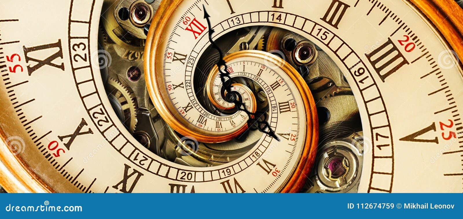 古色古香的老时钟摘要分数维螺旋 观看经典时钟机制异常的抽象纹理分数维样式背景 老