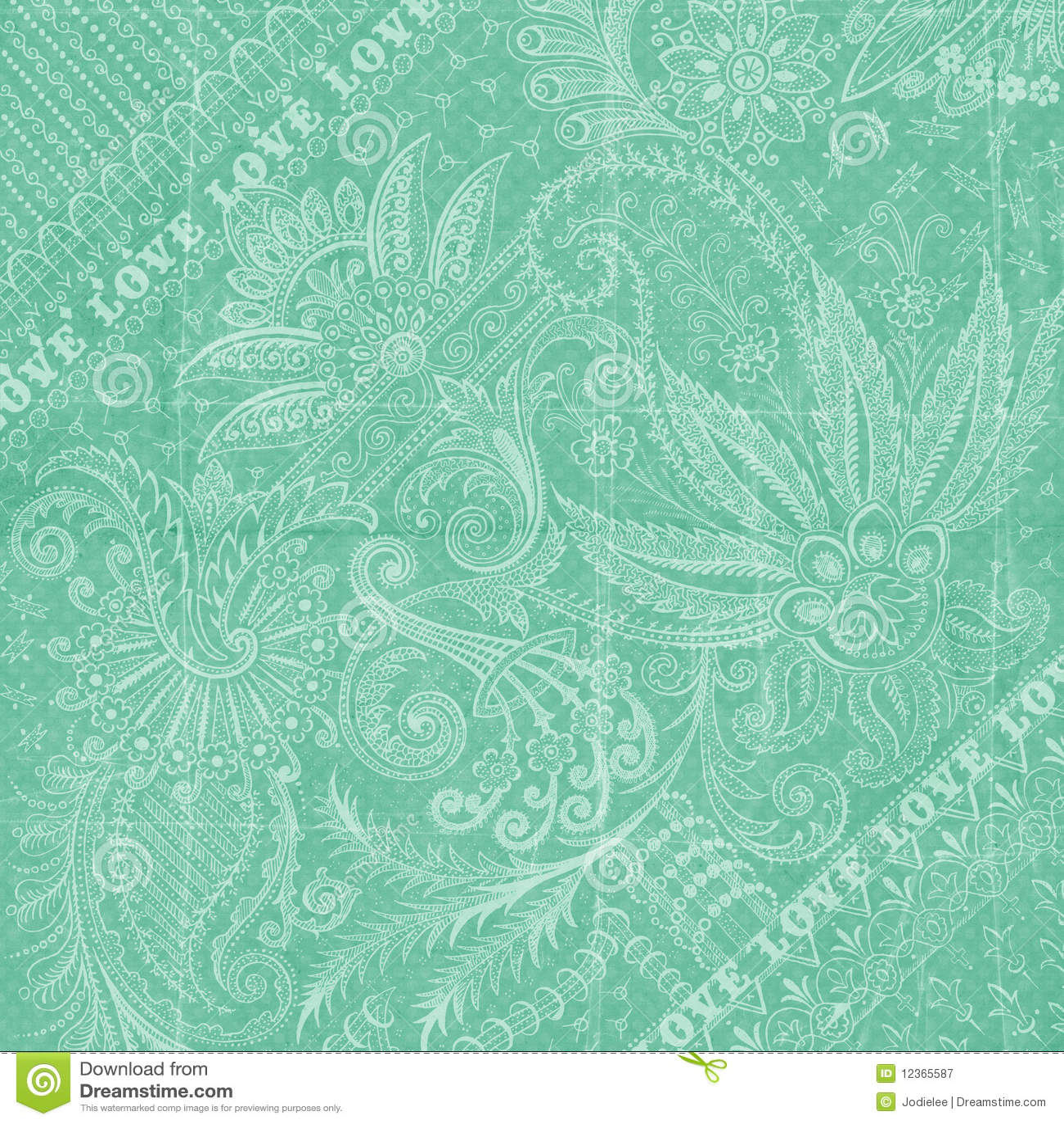 古色古香的花卉水色背景蓝色锦缎