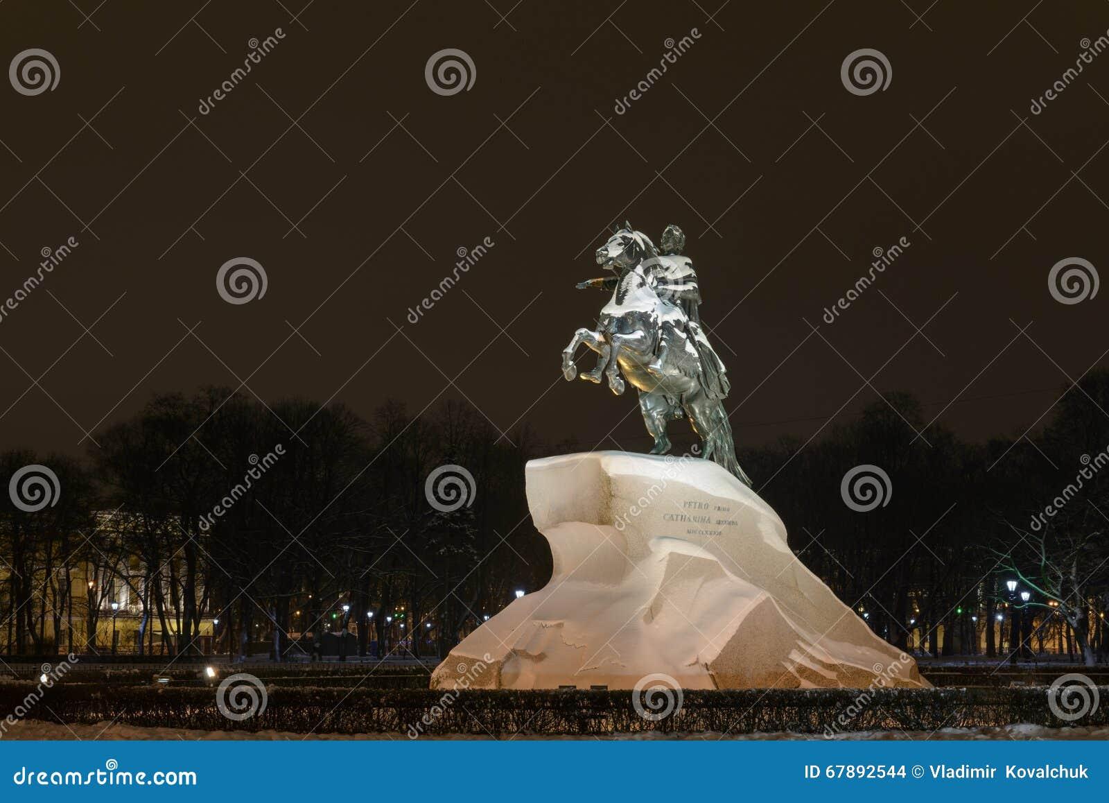 古铜色御马者对彼得1的一座纪念碑在圣彼德堡