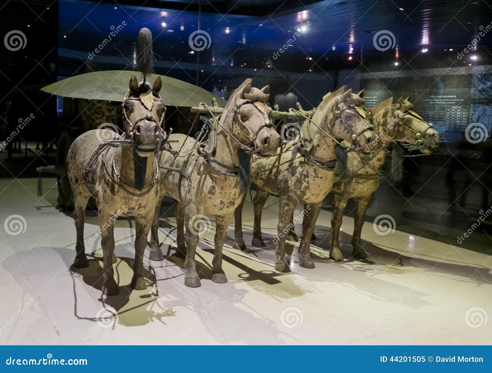 古铜色马和运输车从勤王石牌黄二秦始皇兵马俑