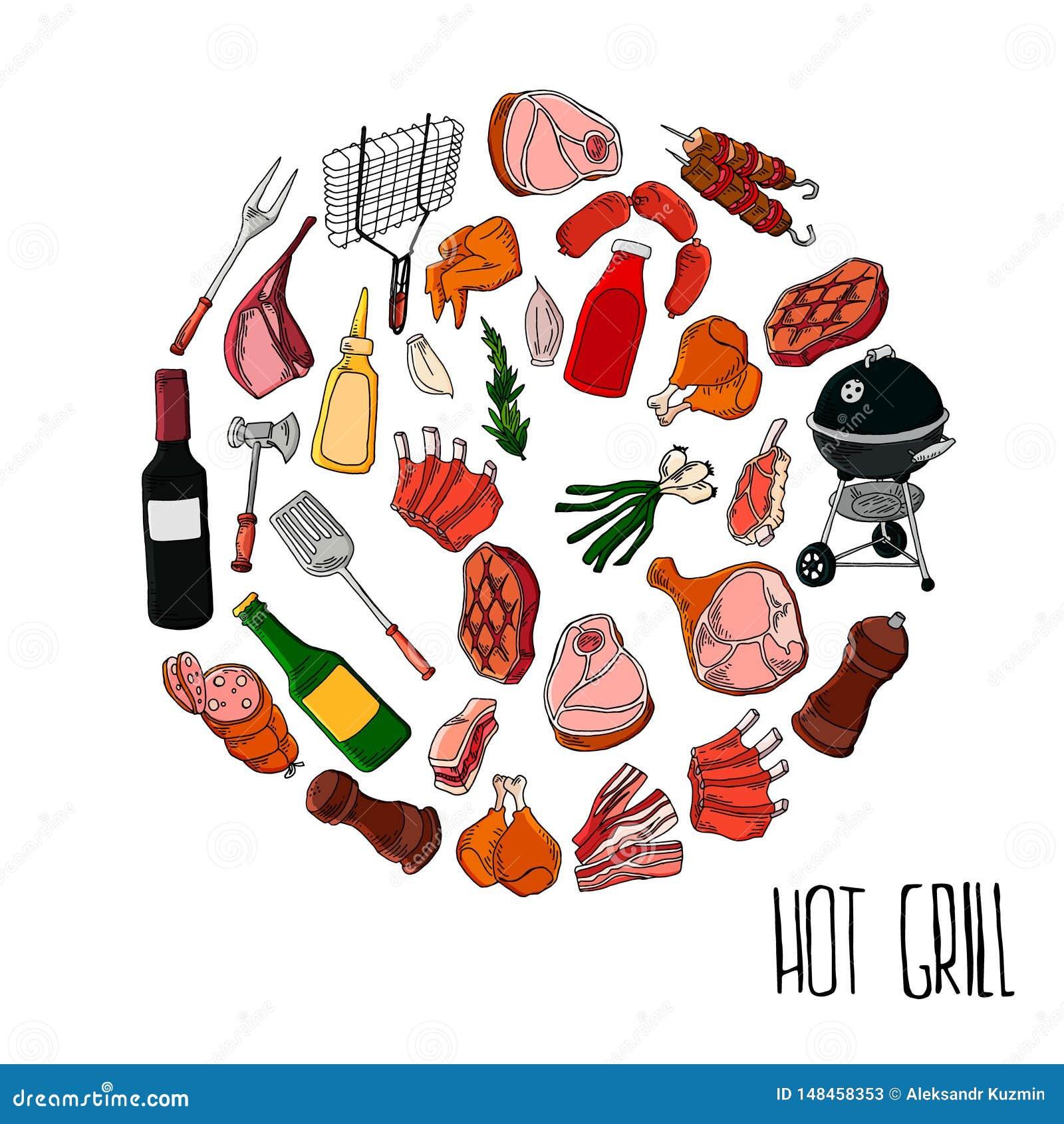 另外特定工具和食物烤肉聚会的 肉、牛排和香肠 Bbq格栅和食物烤的,工具和菜i
