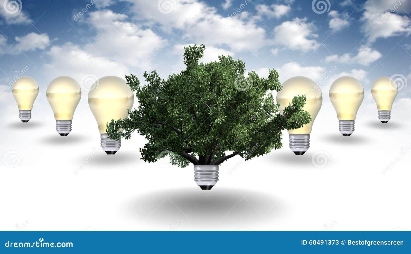 可绘制源表格,背景量天空-在电灯泡的树和发光语言概念的再造的绿色反对标志r图片