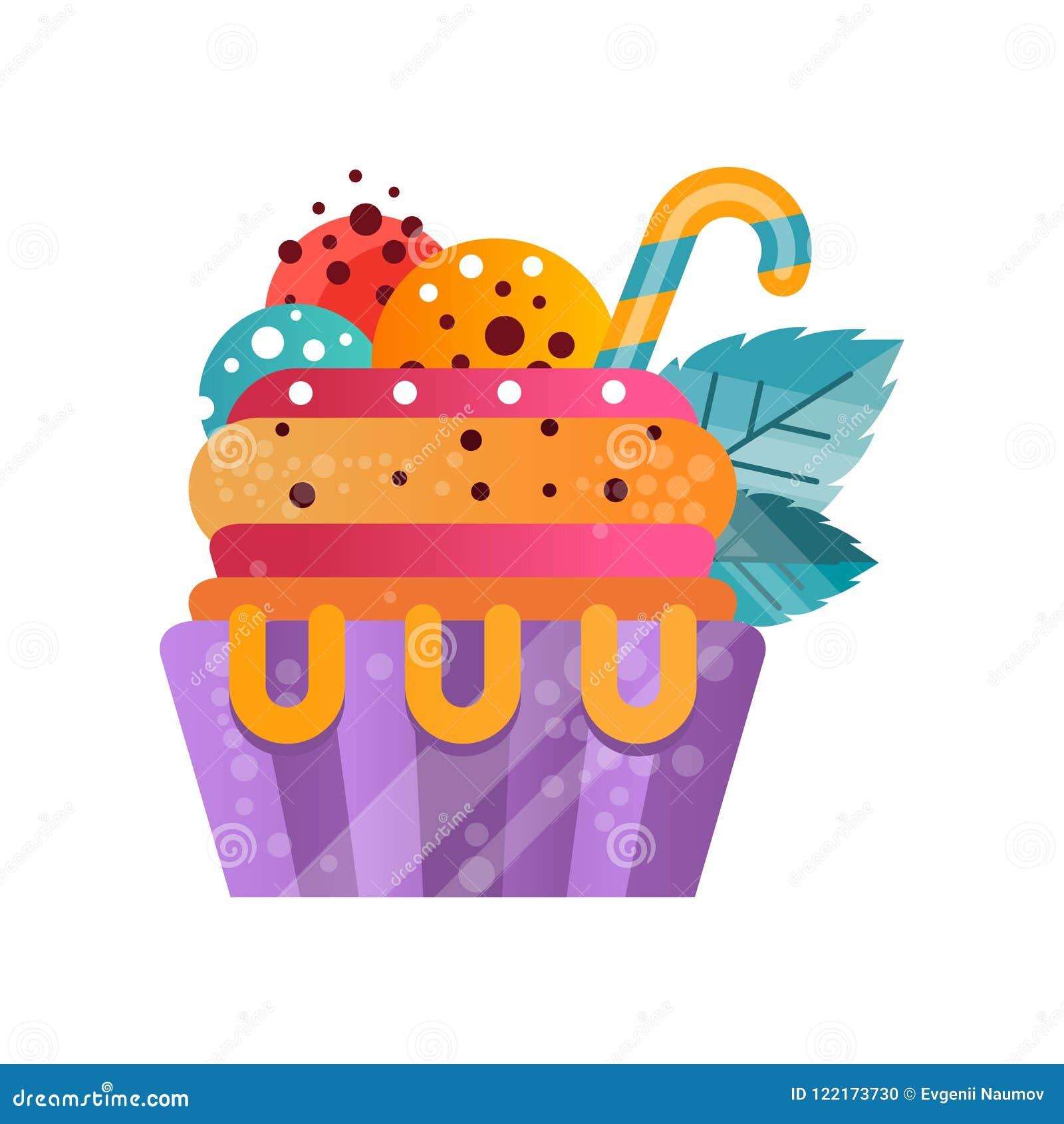 可口五颜六色的乳脂状的杯形蛋糕,生日聚会传染媒介例证的甜点心在白色背景