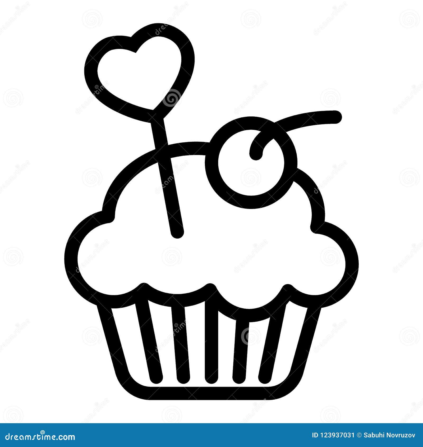 可口杯形蛋糕,松饼线象 在白色隔绝的乳脂状的蛋糕传染媒介例证 面包店概述样式设计
