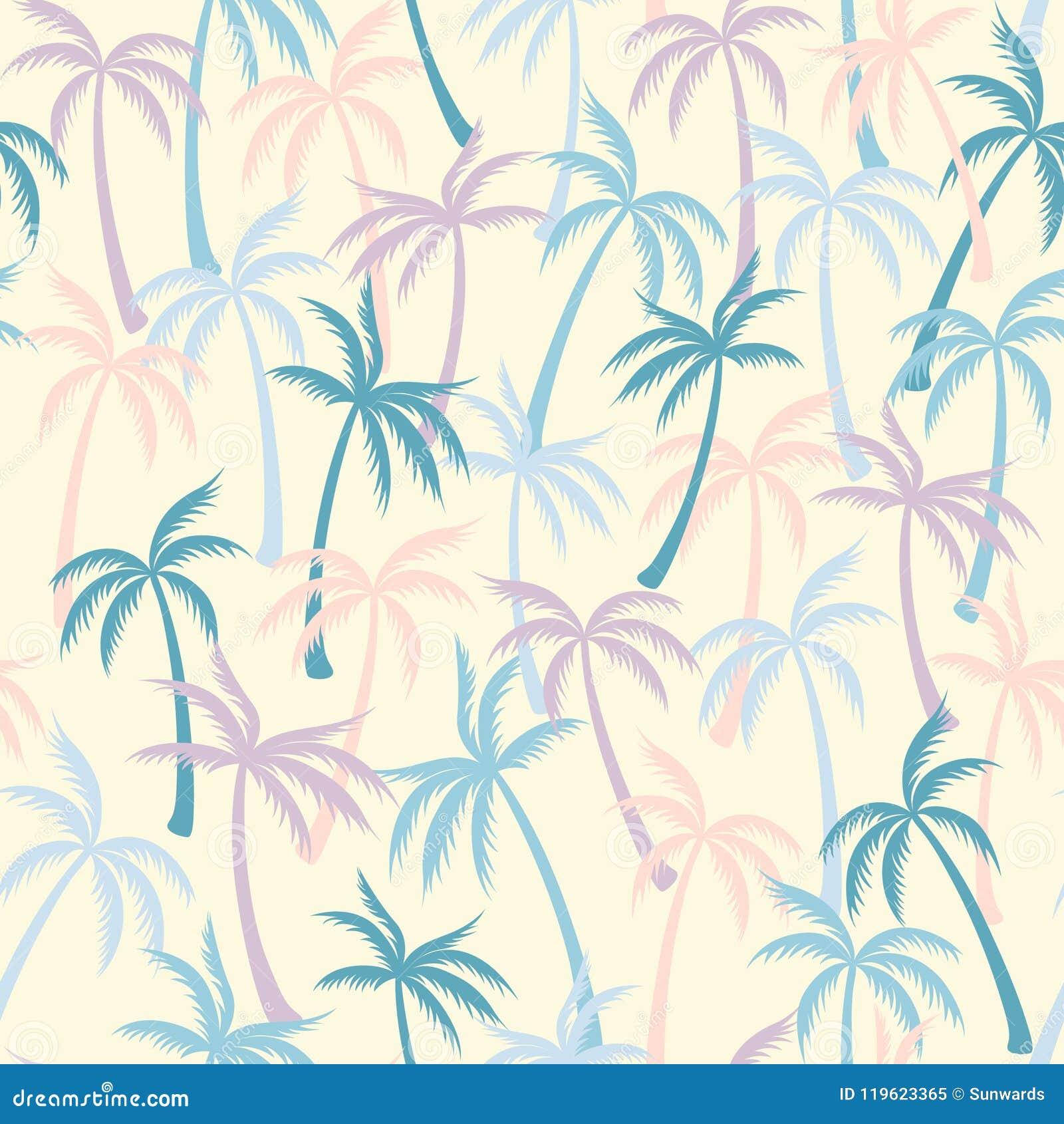 可可椰子树样式纺织品无缝的热带森林背景 夏天重复样式的传染媒介墙纸