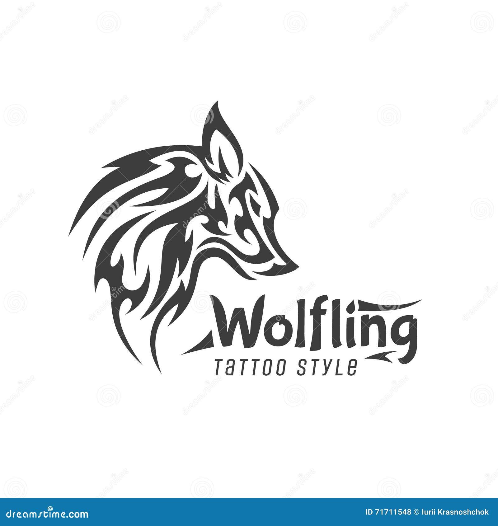 可怕狼动物简单派商标纹身花刺样式是现代品牌平的清净艺术.