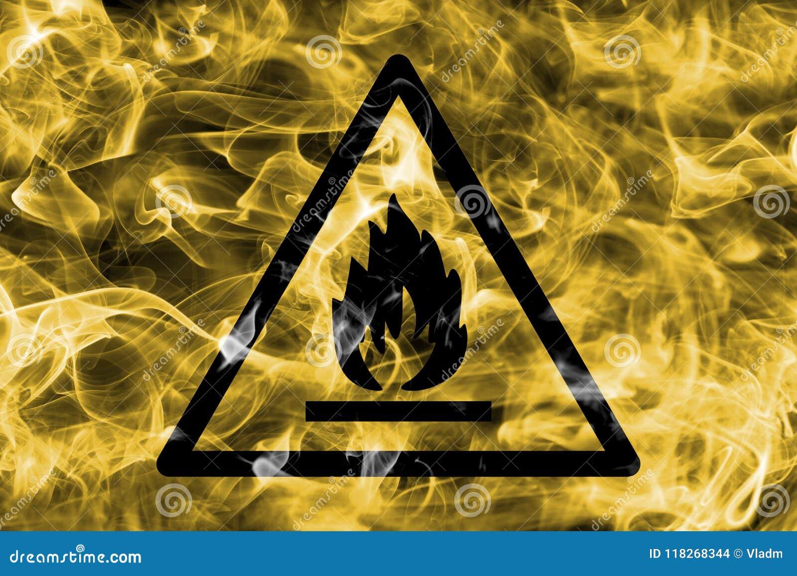 可燃烧和易燃材料冒险警告烟标志 T