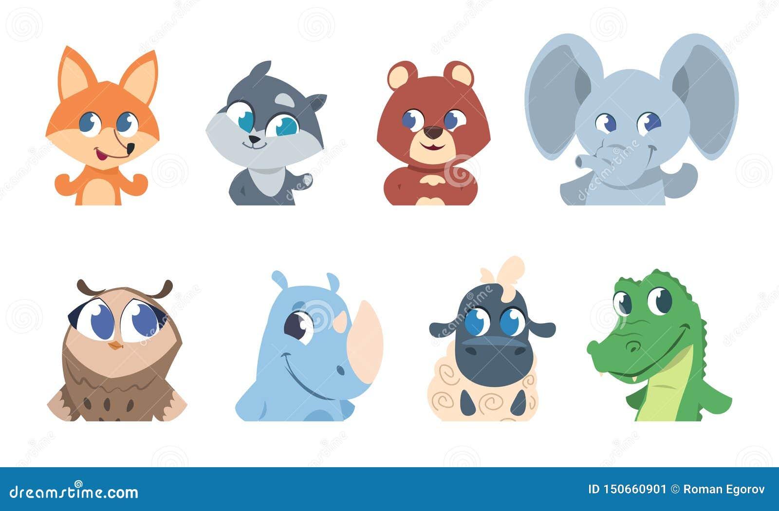 可爱宝贝动物 动画片宠物和狂放的森林动物面孔、滑稽的字符贺卡的和邀请飞行物