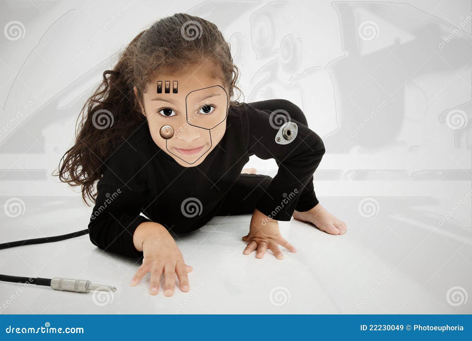 可爱的儿童靠机械装置维持生命的人幼稚园