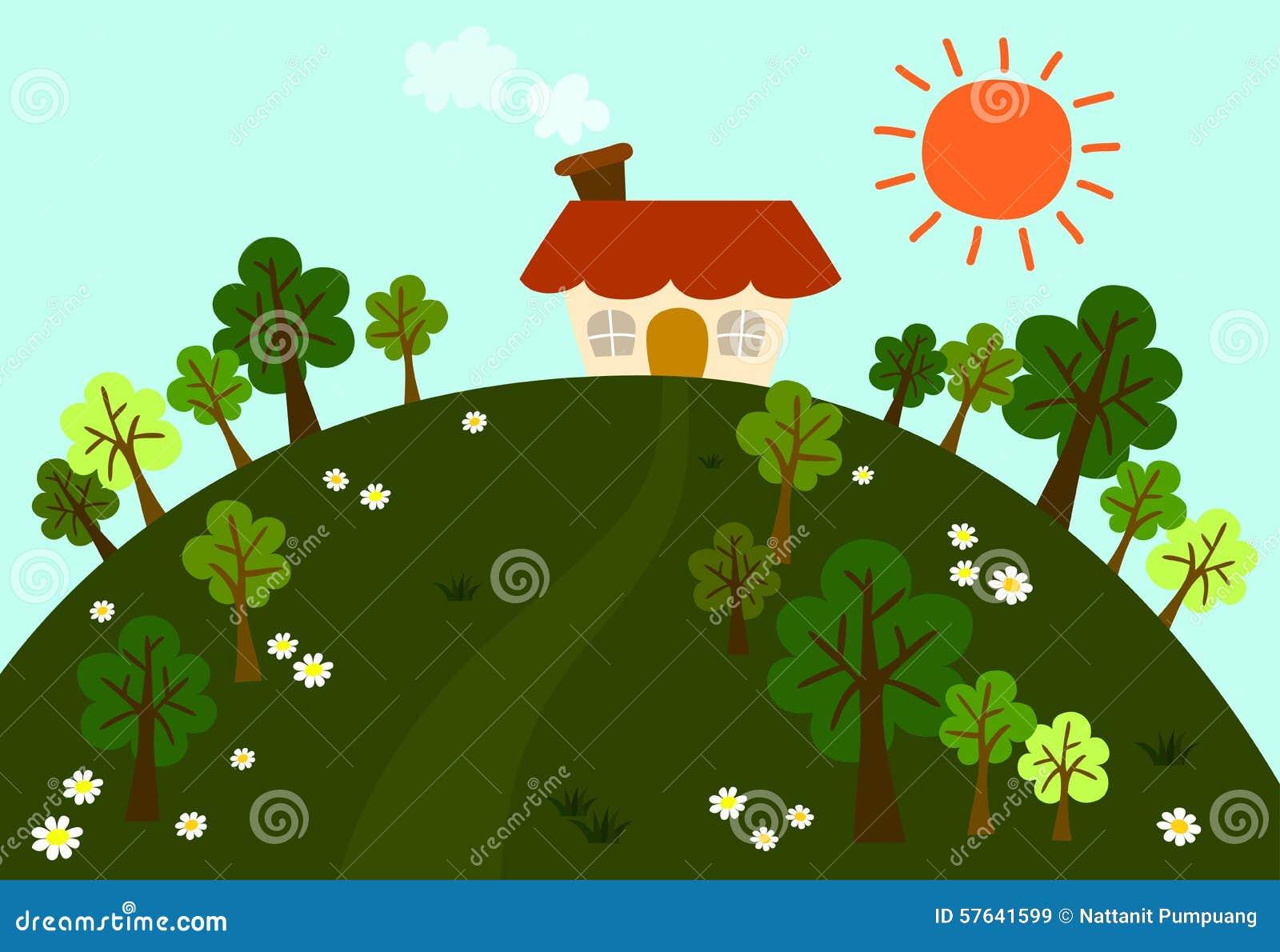 媒介绘制图标青山在花传染新鲜的树的与在太阳的大小屋中和天空的像素刷新ps环境的图片