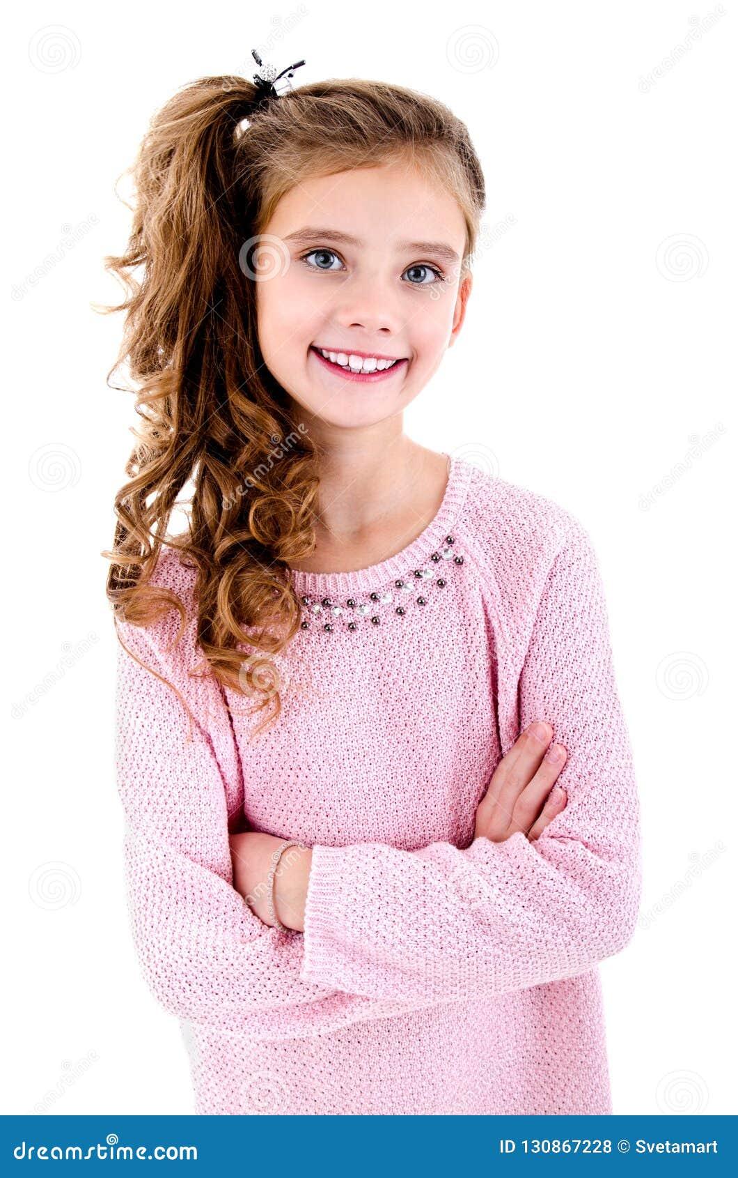可爱的微笑的小女孩孩子画象被隔绝
