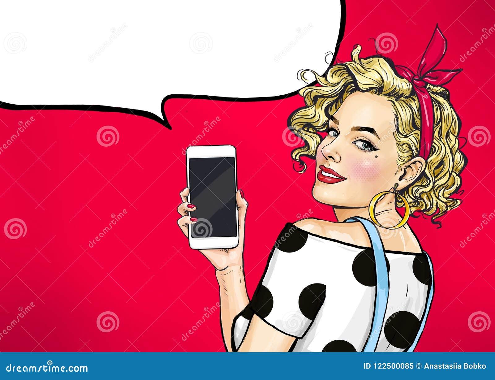 可爱的性感的女孩与电话在手上在可笑的样式 拿着智能手机的妇女
