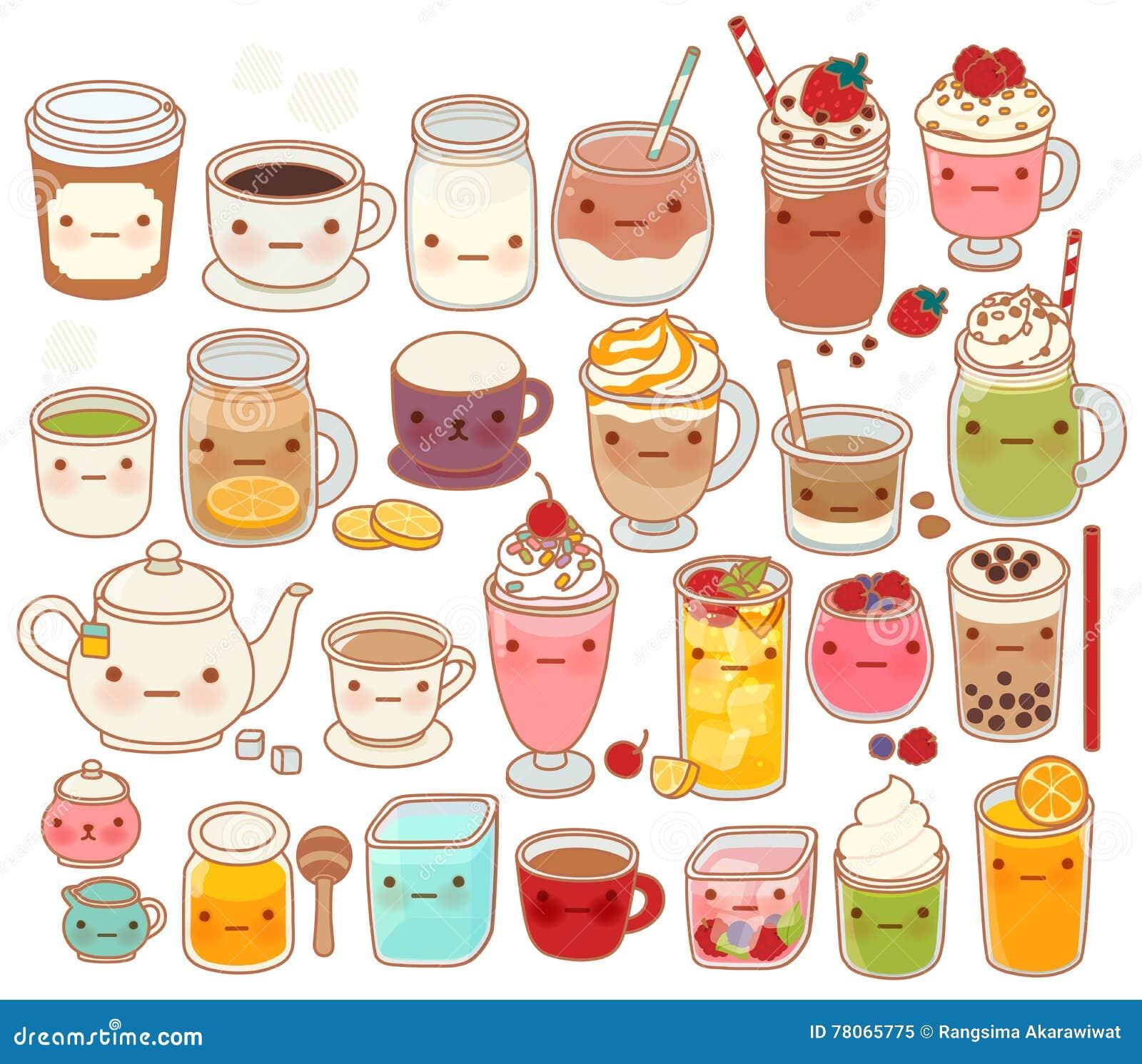可爱的热和冷的饮料象,逗人喜爱的茶,可爱的牛奶,甜咖啡, kawaii圆滑的人,娘儿们matcha绿茶的汇集