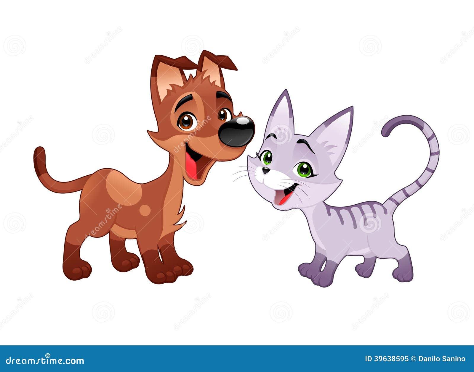 可爱的猫和狗。