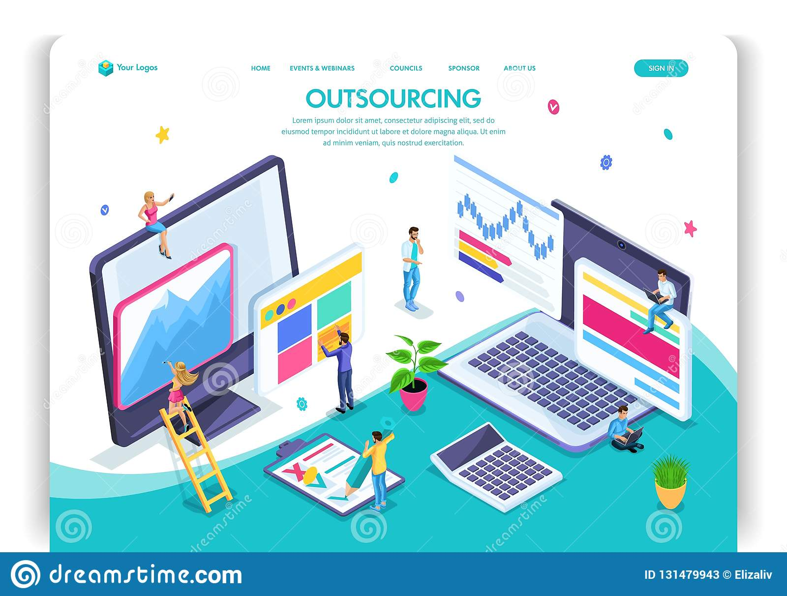 可用的设计eps8格式化jpeg模板网站 等量概念采购 雇用一名遥远的雇员,设计师,程序员,撰稿人