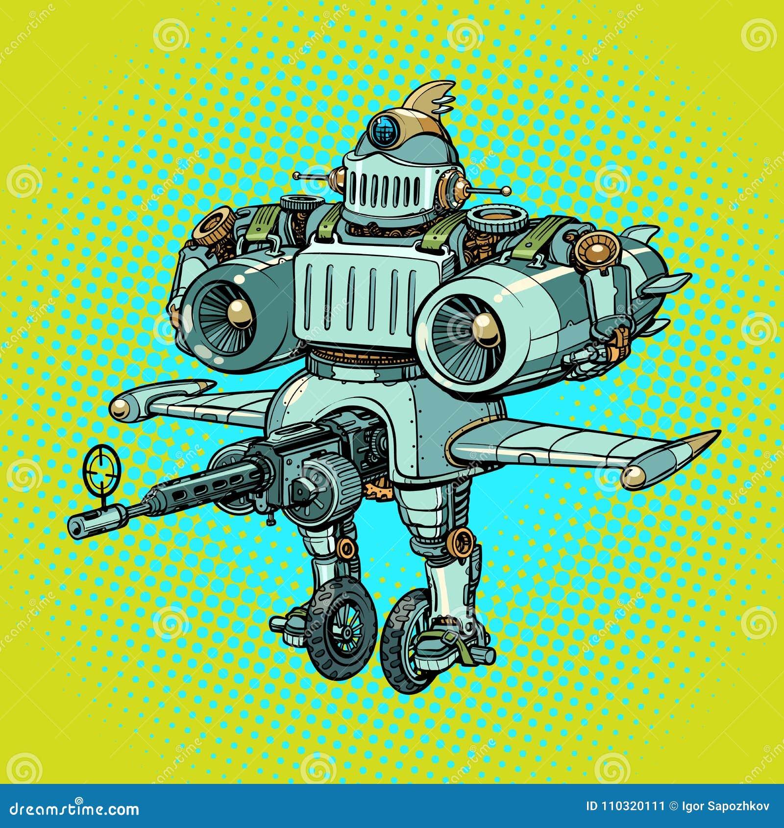 可笑滑稽的在减速火箭的样式的争斗军用机器人