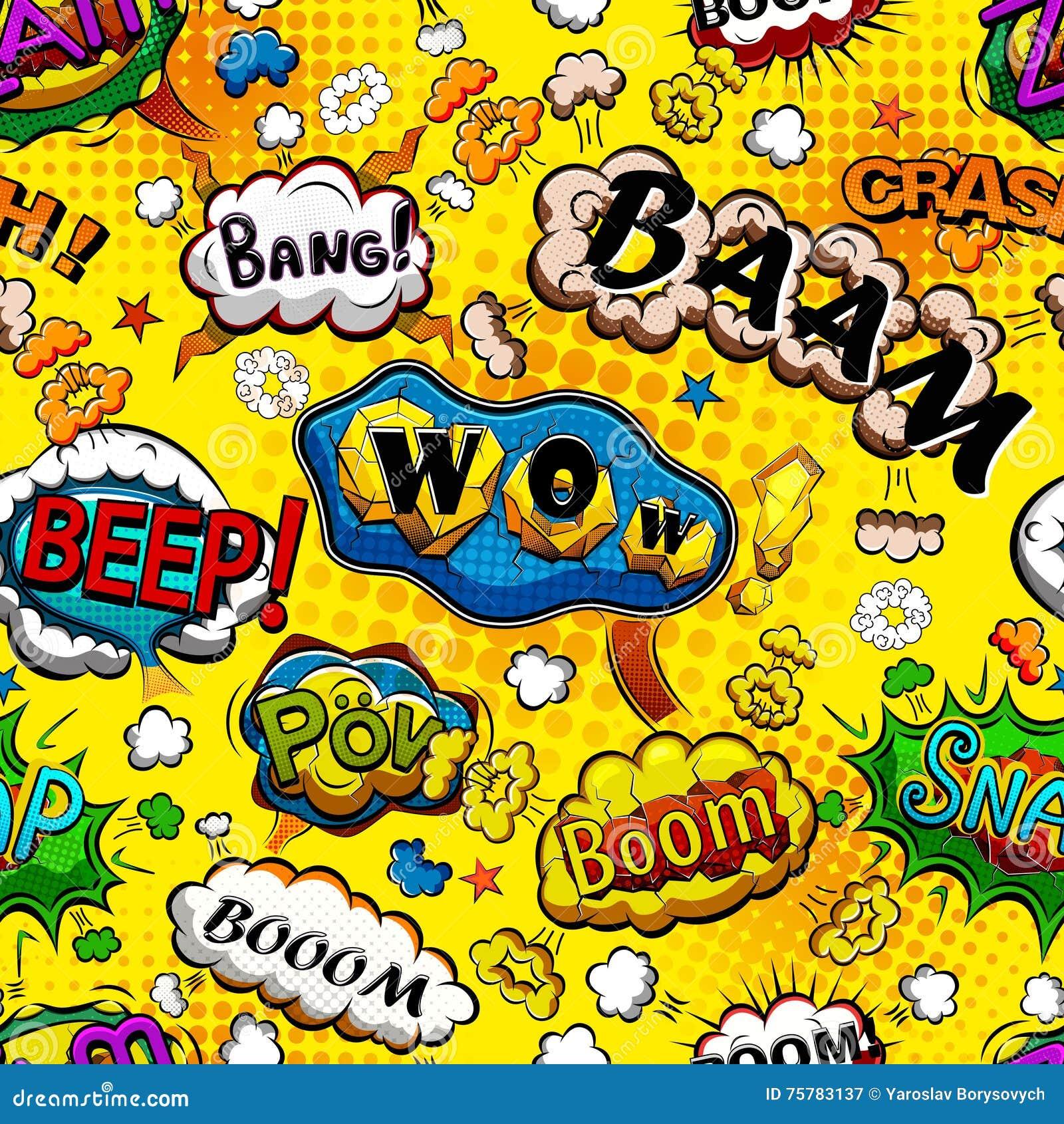 可笑的讲话起泡与黄色背景传染媒介的无缝的样式