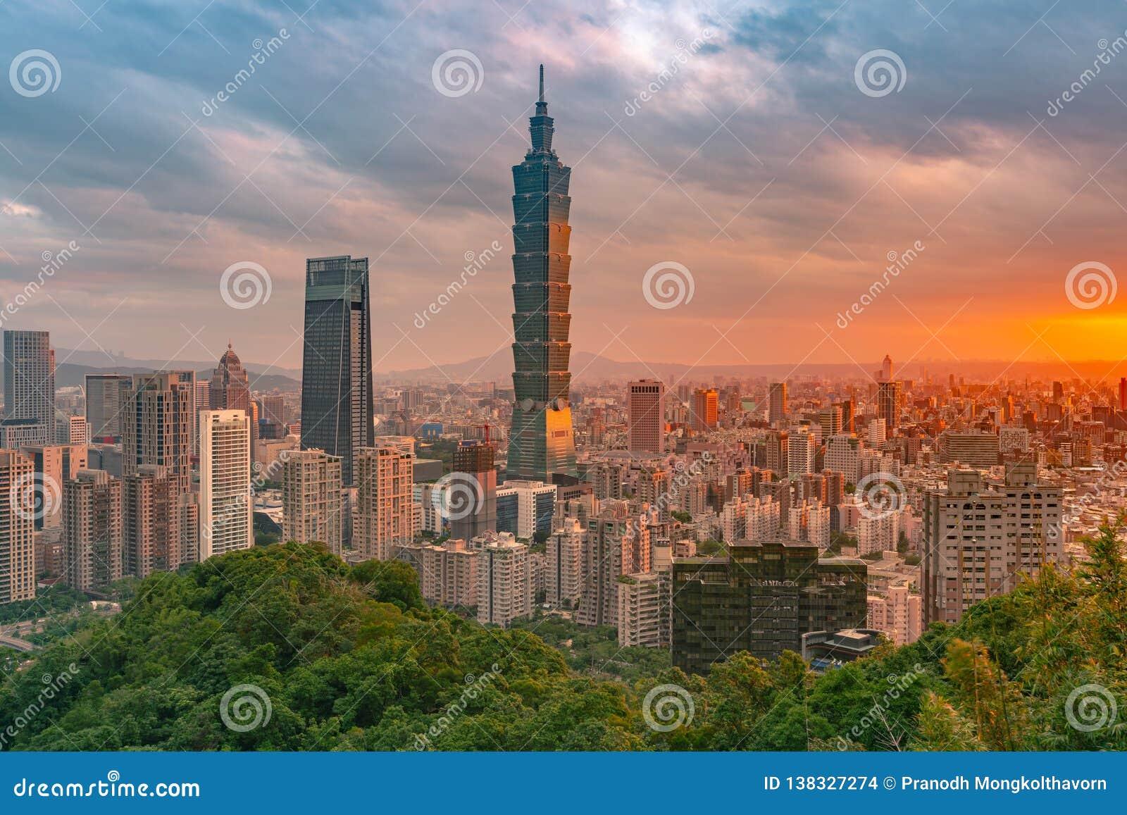 台北市街市地平线有日落天空背景