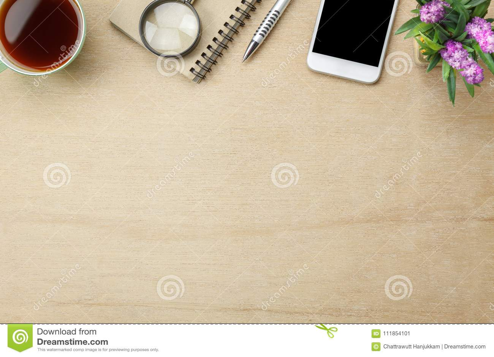 台式视图空中图象固定式在办公桌背景