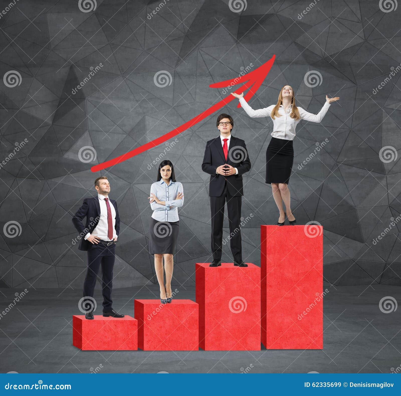 台阶作为一张巨大的红色长条图在有水泥地板和当代墙壁的屋子里 商人在每个ste站立