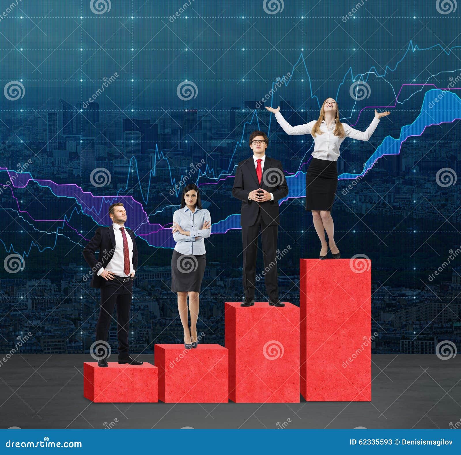 台阶作为一张巨大的红色长条图 商人在每步并肩作战象responsib的问题或水平的范围的概念