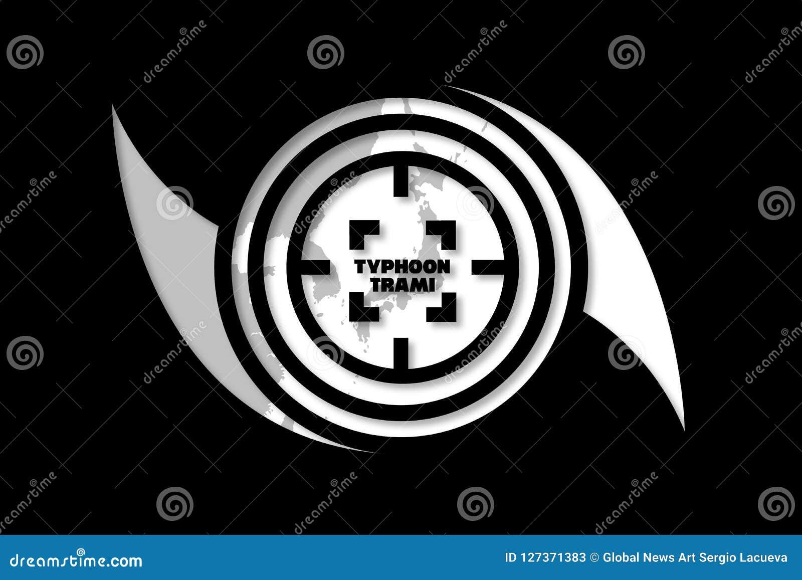 台风的瞄准日本的Trami例证想法